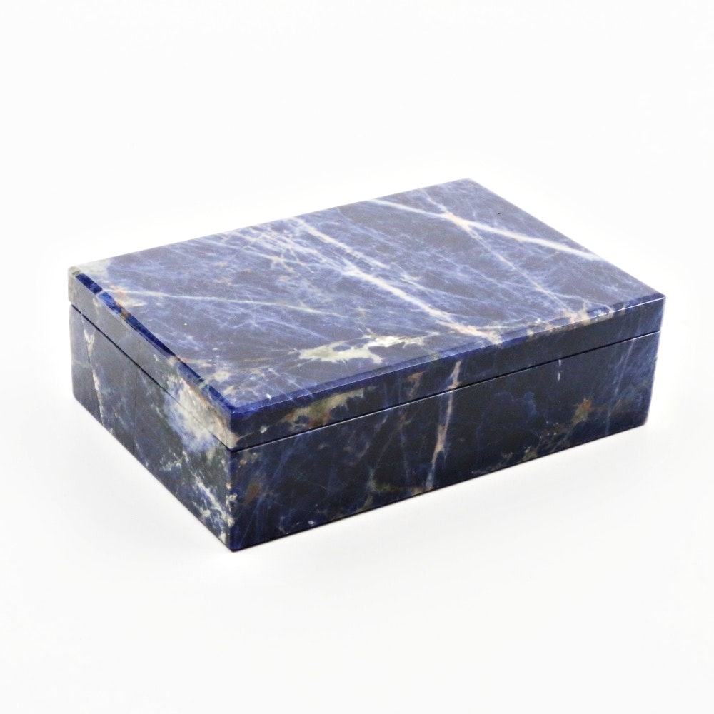 Blue Sodalite and Marble Box with Hinged Lid