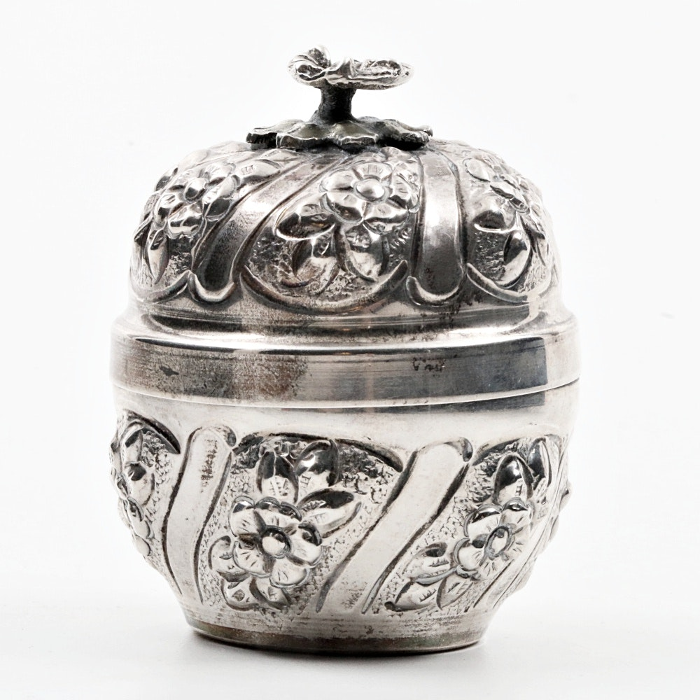 900 Silver Round Tea Caddy with Gold Gilt Interior
