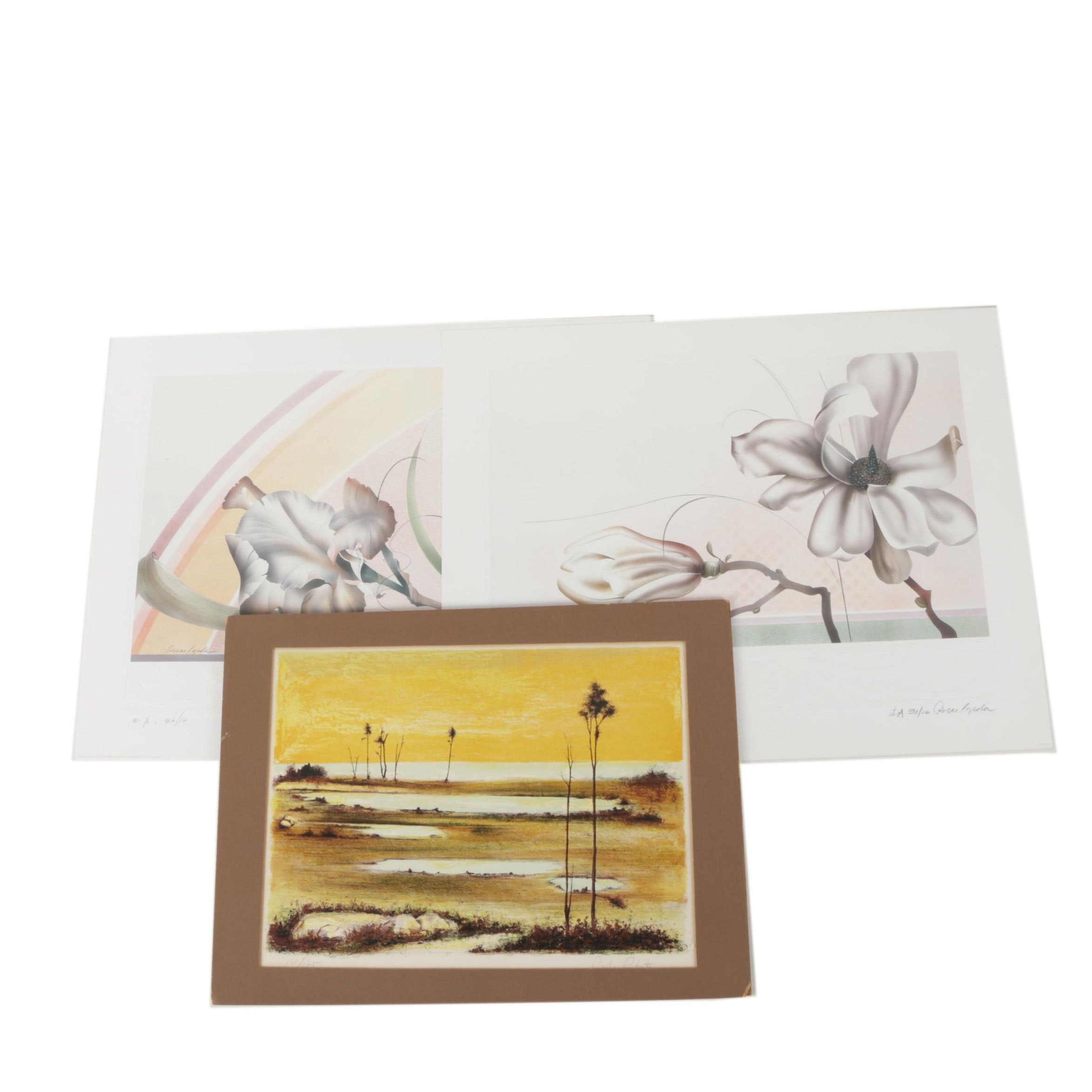 Prints of Flowers and Landscapes Including Oscar Tejada