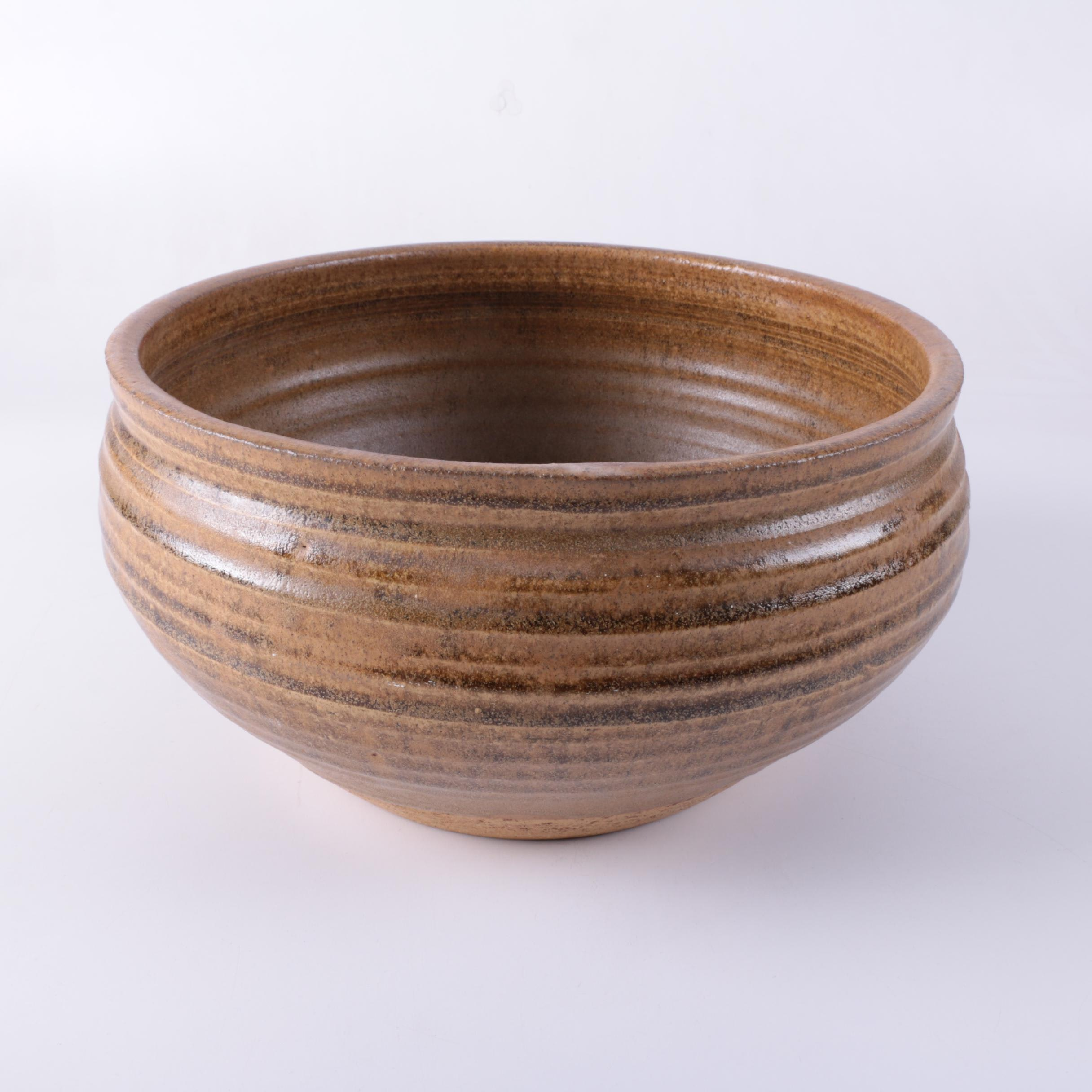 Contemporary Glazed Stoneware Pottery Bowl
