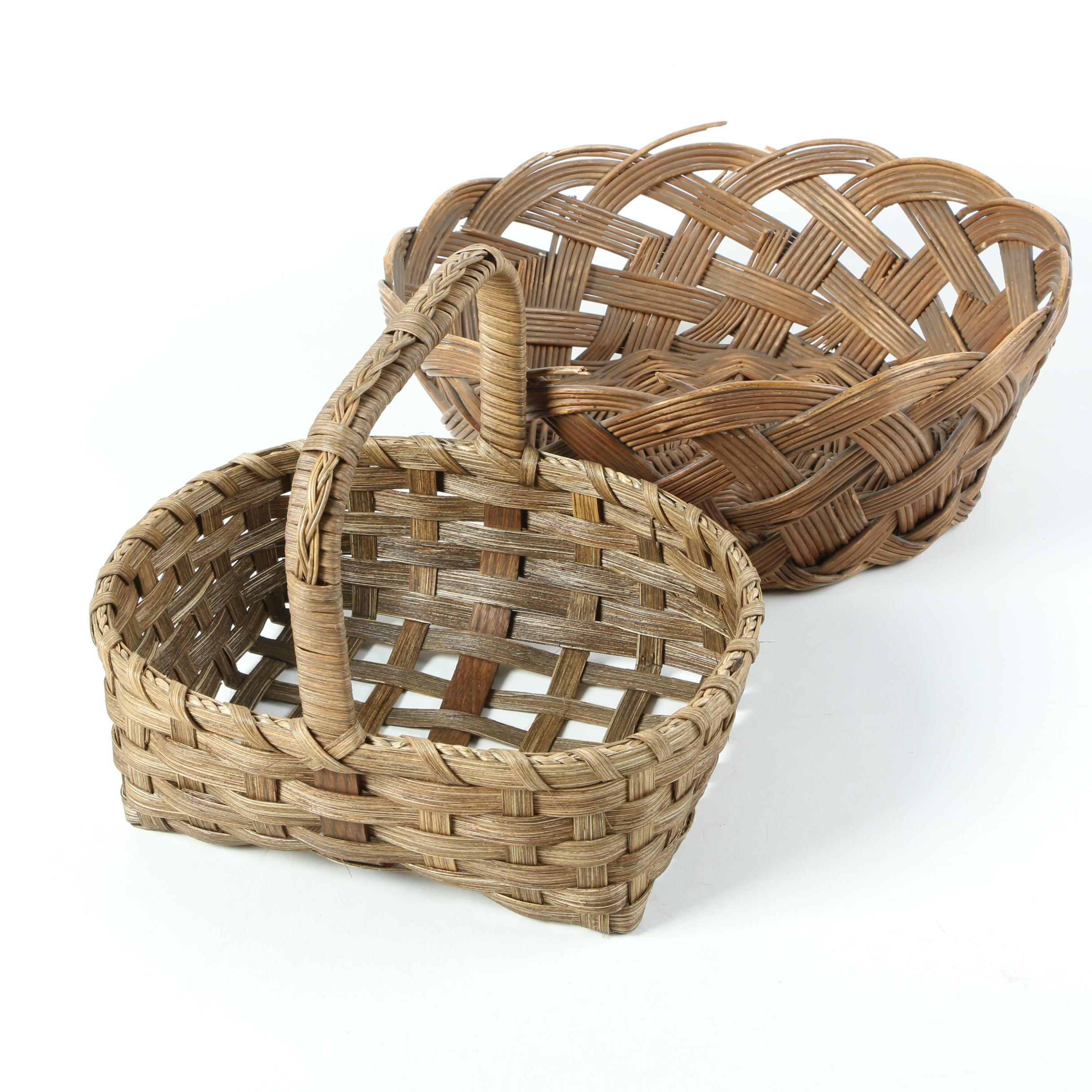 Vintage Hand Plaited Willow Reed and Cane Baskets