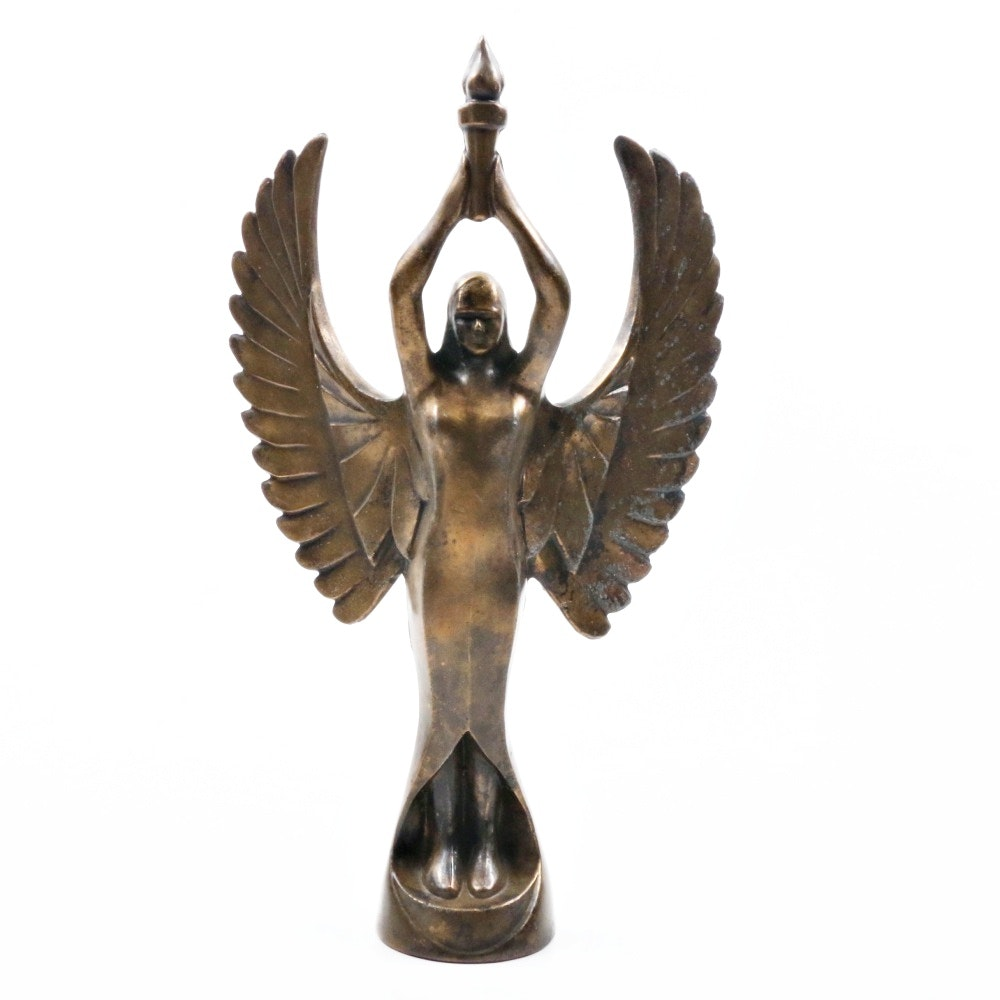 Art Deco Cast Brass Winged Goddess of Victory Statuette