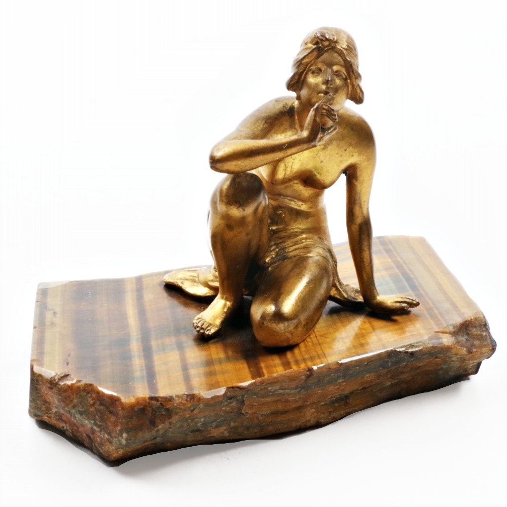 Vintage Gilt Metal Sculpture on Tiger's Eye Base