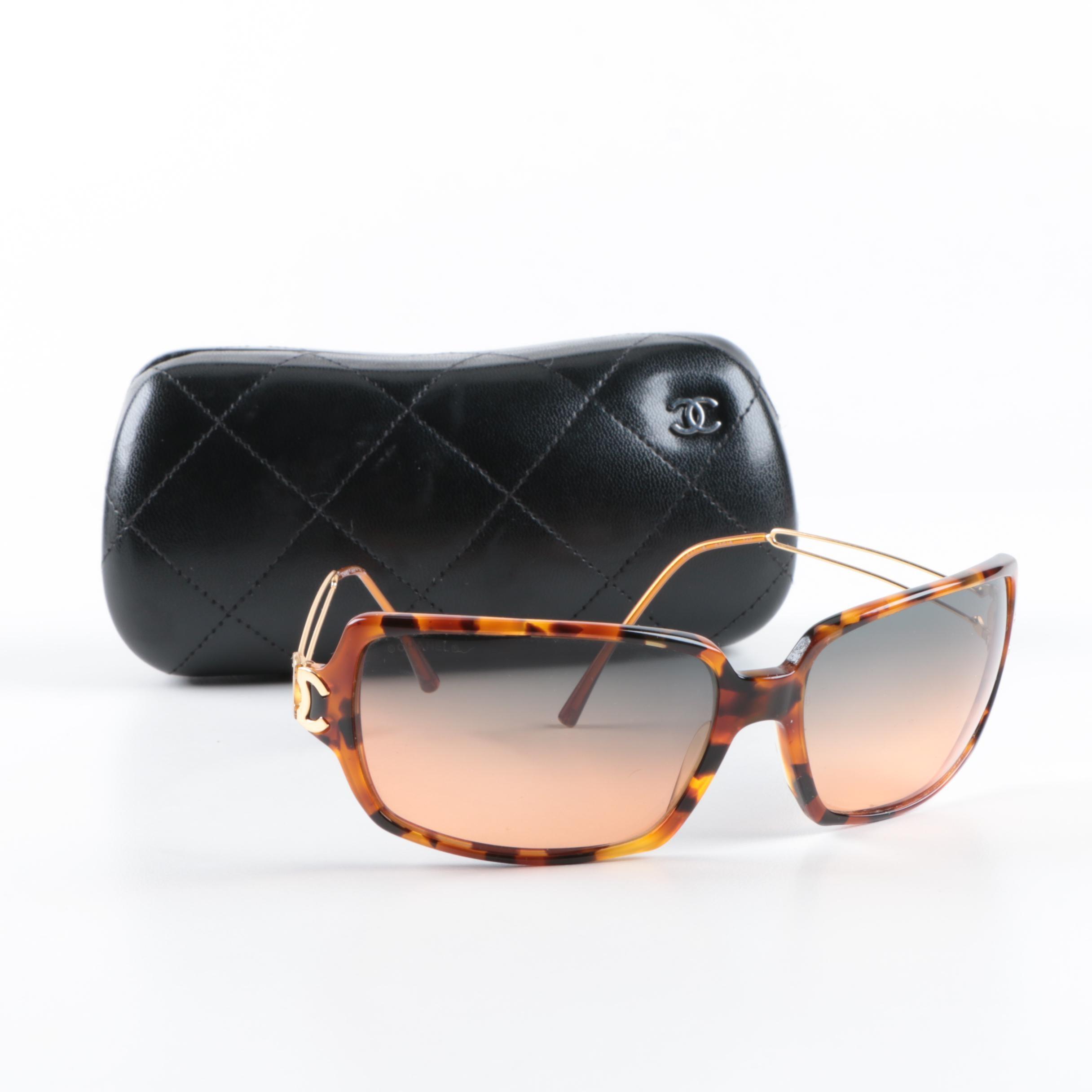 Chanel Tortoiseshell Style Sunglasses
