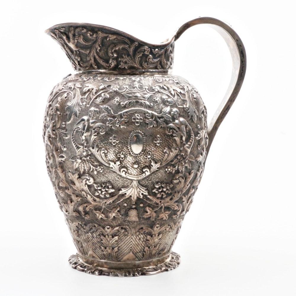 Antique Repousse Dutch Export Pitcher in 800 Silver