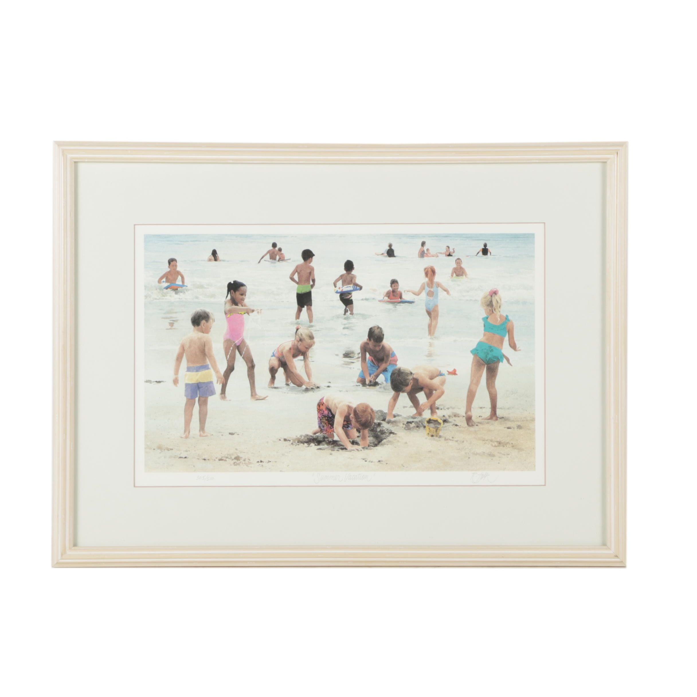 """Roger Folk Limited Edition Offset Lithograph """"Summer Vacation"""""""