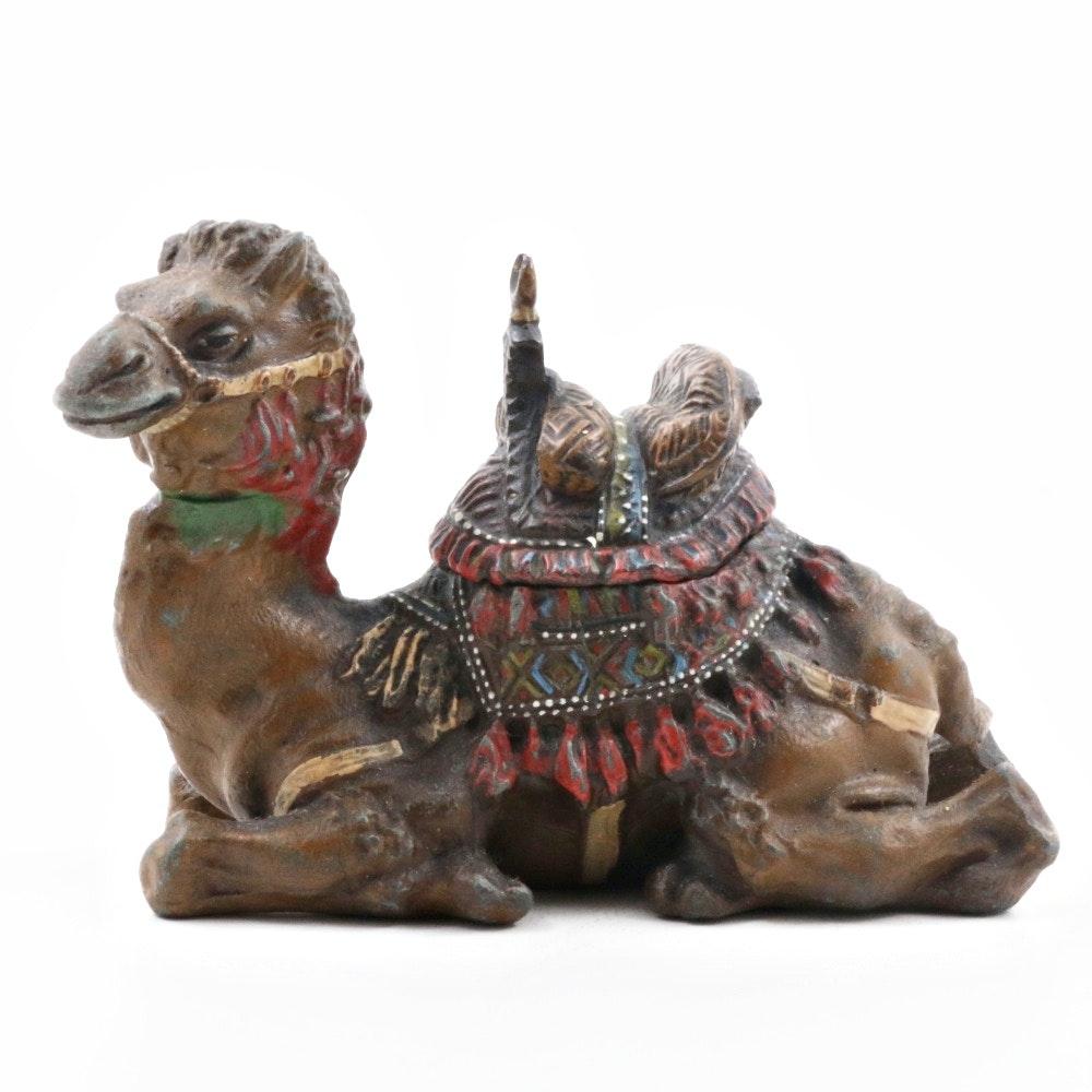 Antique Viennese Bronze Camel Inkwell