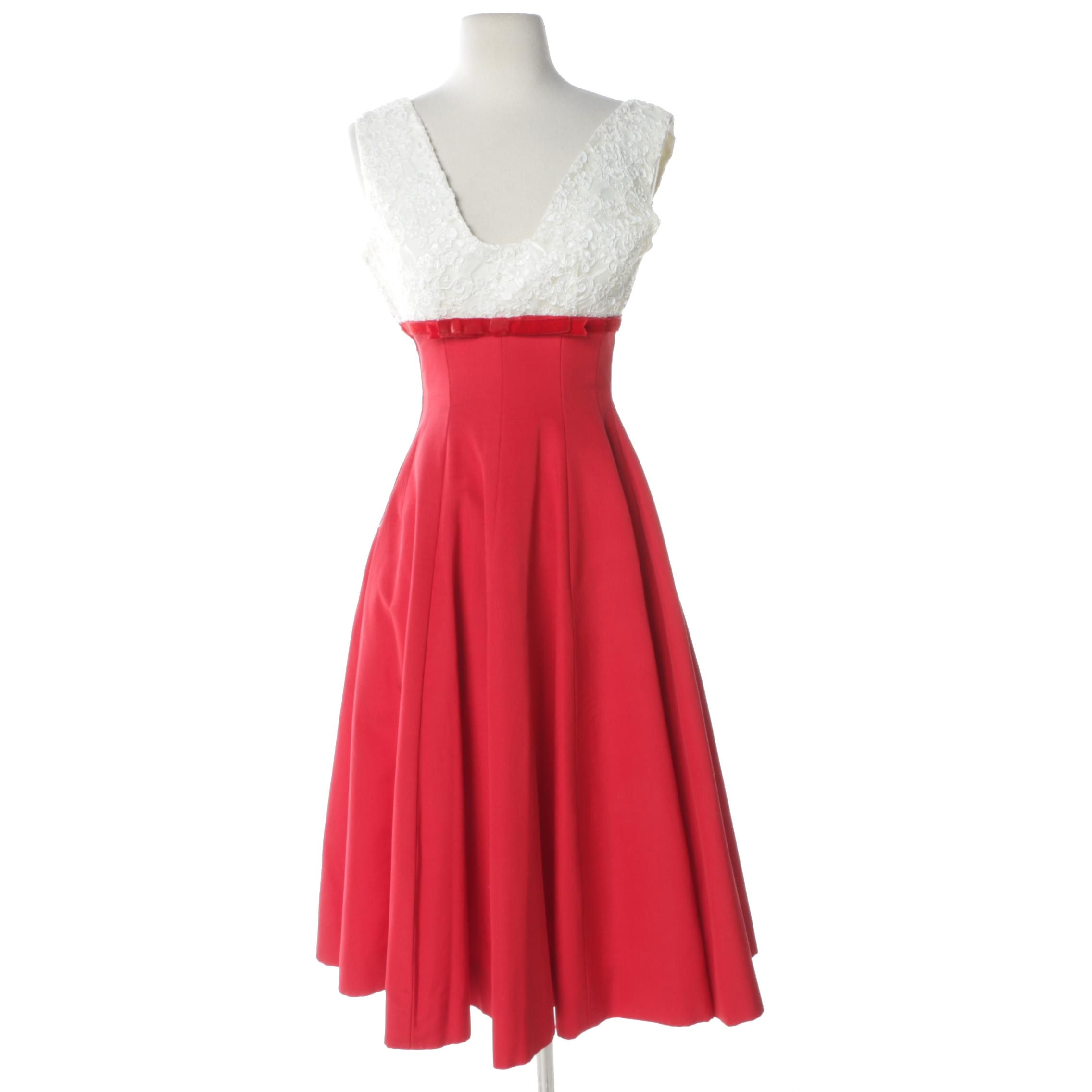 1960s Red Silk and White Lace Evening Dress