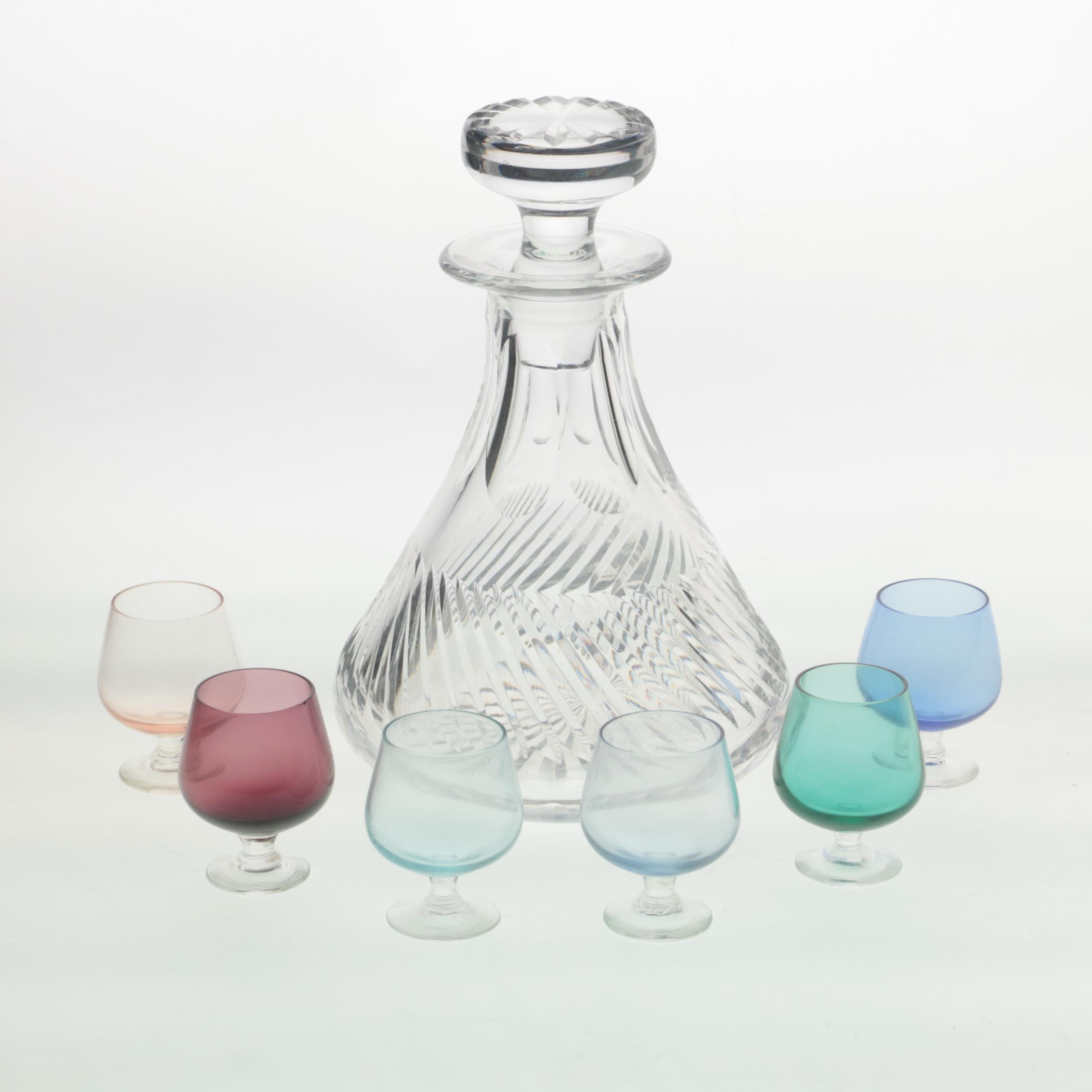 "Tudor ""Aquitane"" Crystal Decanter with Snifter Glasses"