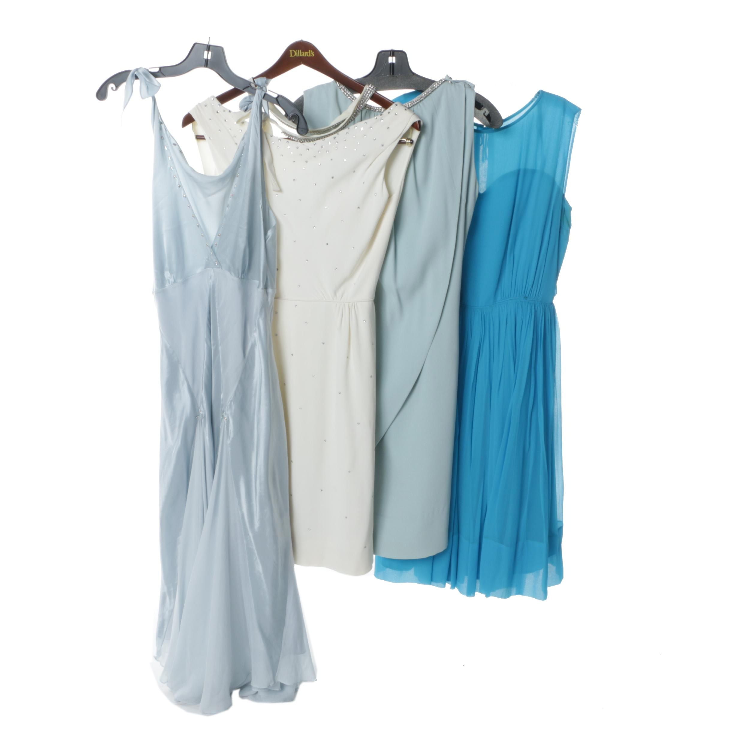 1970s Evening Dresses Including Silk, Sheer, Iridescent Rhinestones