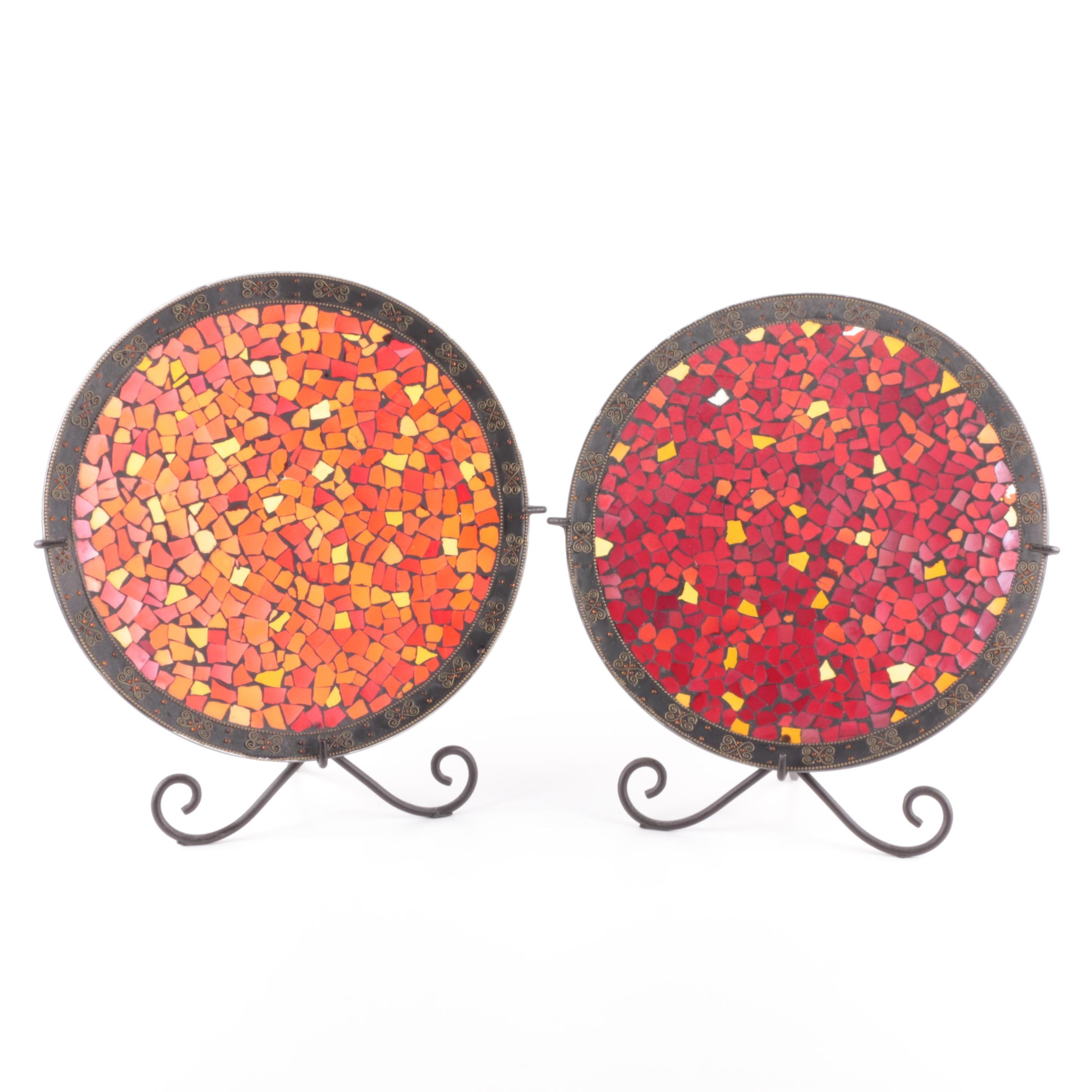 Glass Mosaic Decorative Plates with Metal Stands