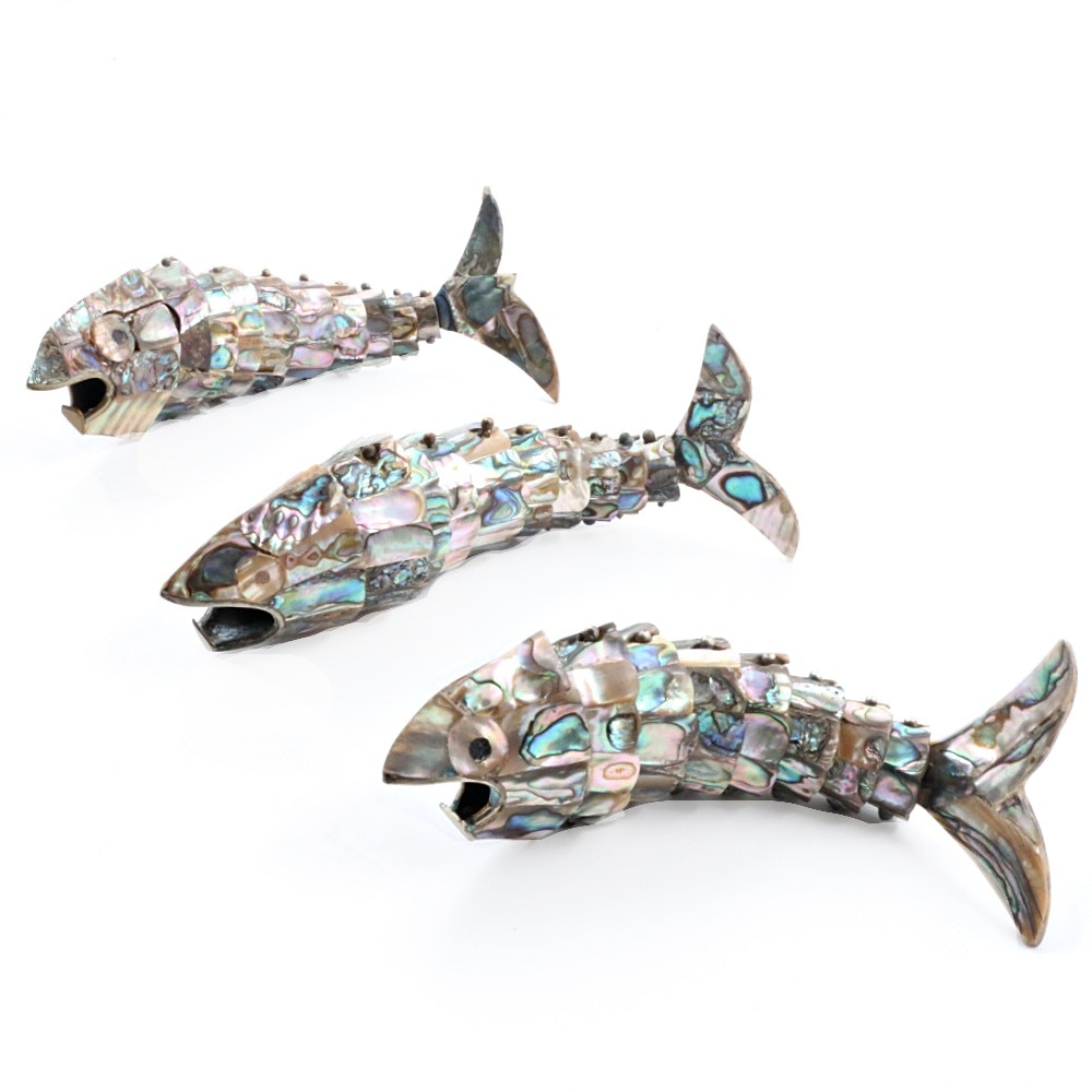 Three Vintage Mexican Abalone Reticulated Fish Bottle Openers
