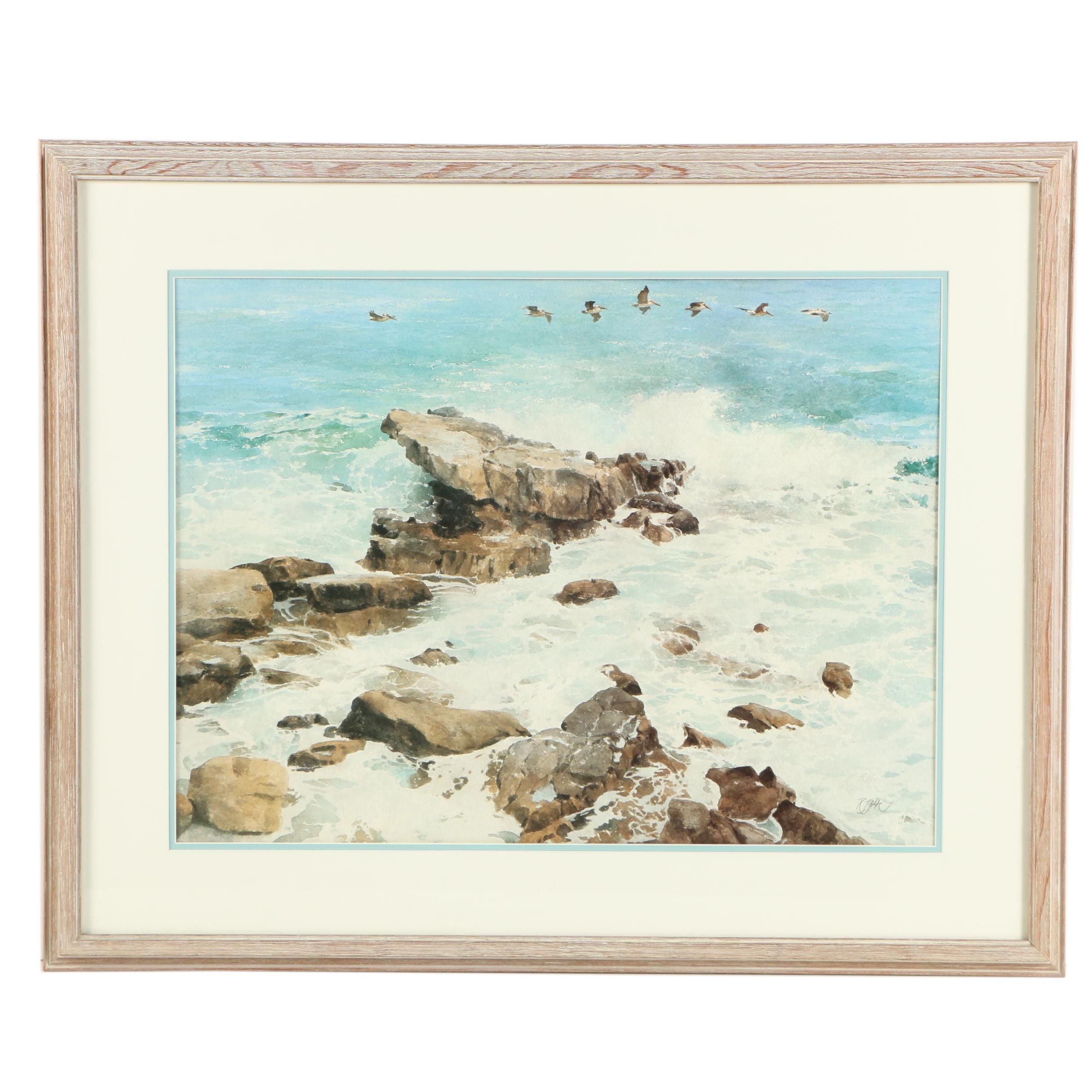 Roger Folk  Offset Lithograph of a Shoreline Landscape
