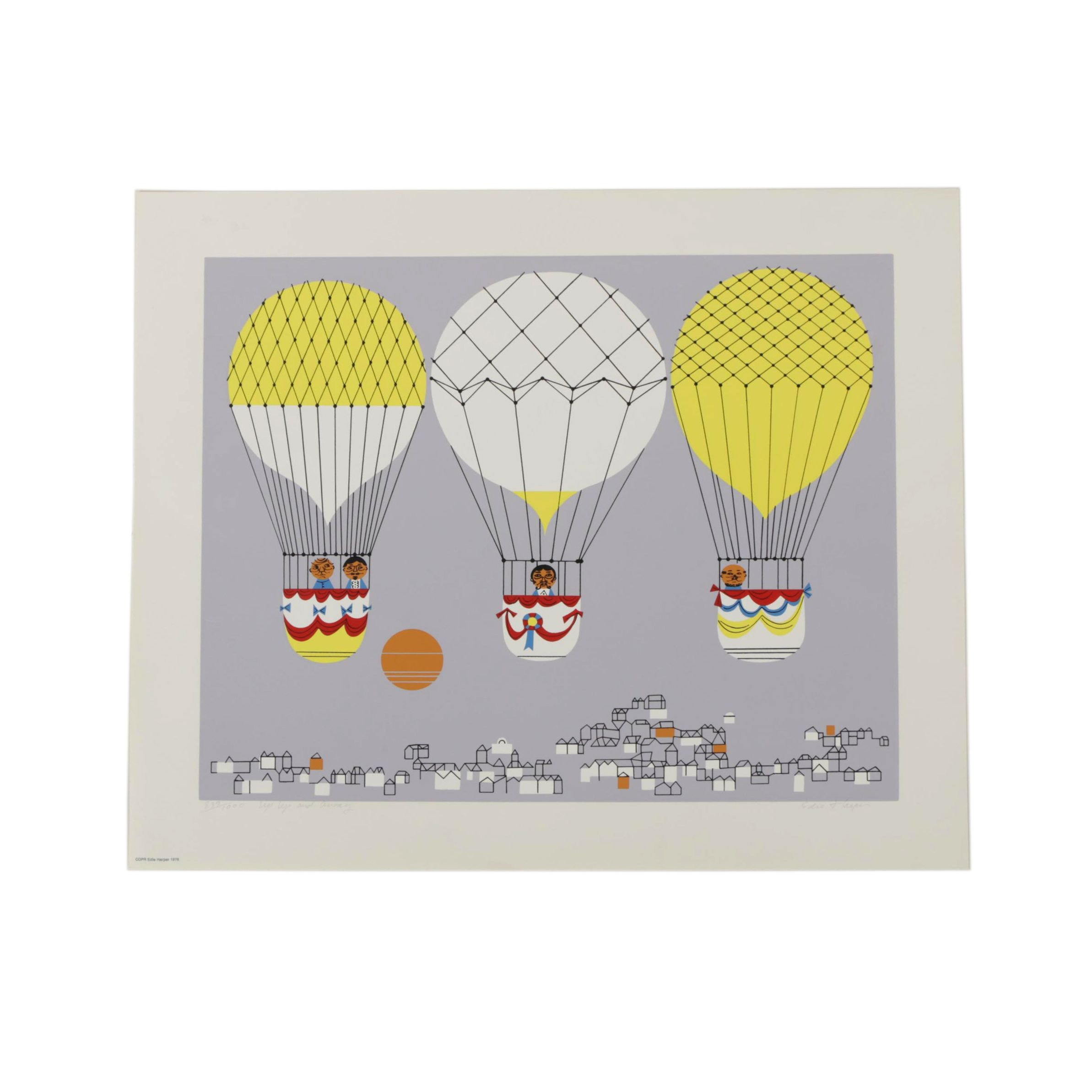 "Edie Harper Signed Limited Edition Serigraph ""Up Up and Away"""