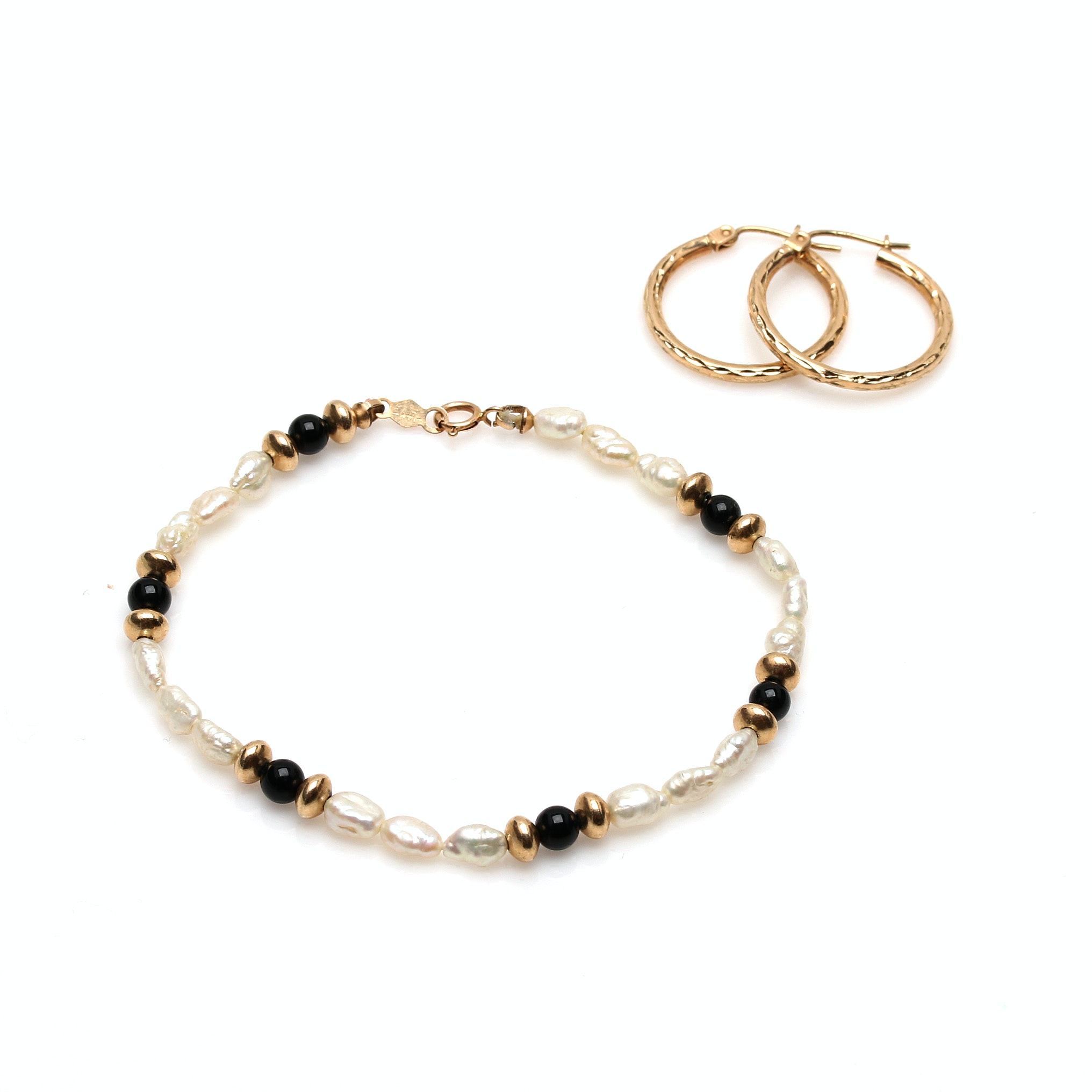 10K Yellow Gold Hoop Earrings and 14K Yellow Gold Pearl and Black Onyx Bracelet