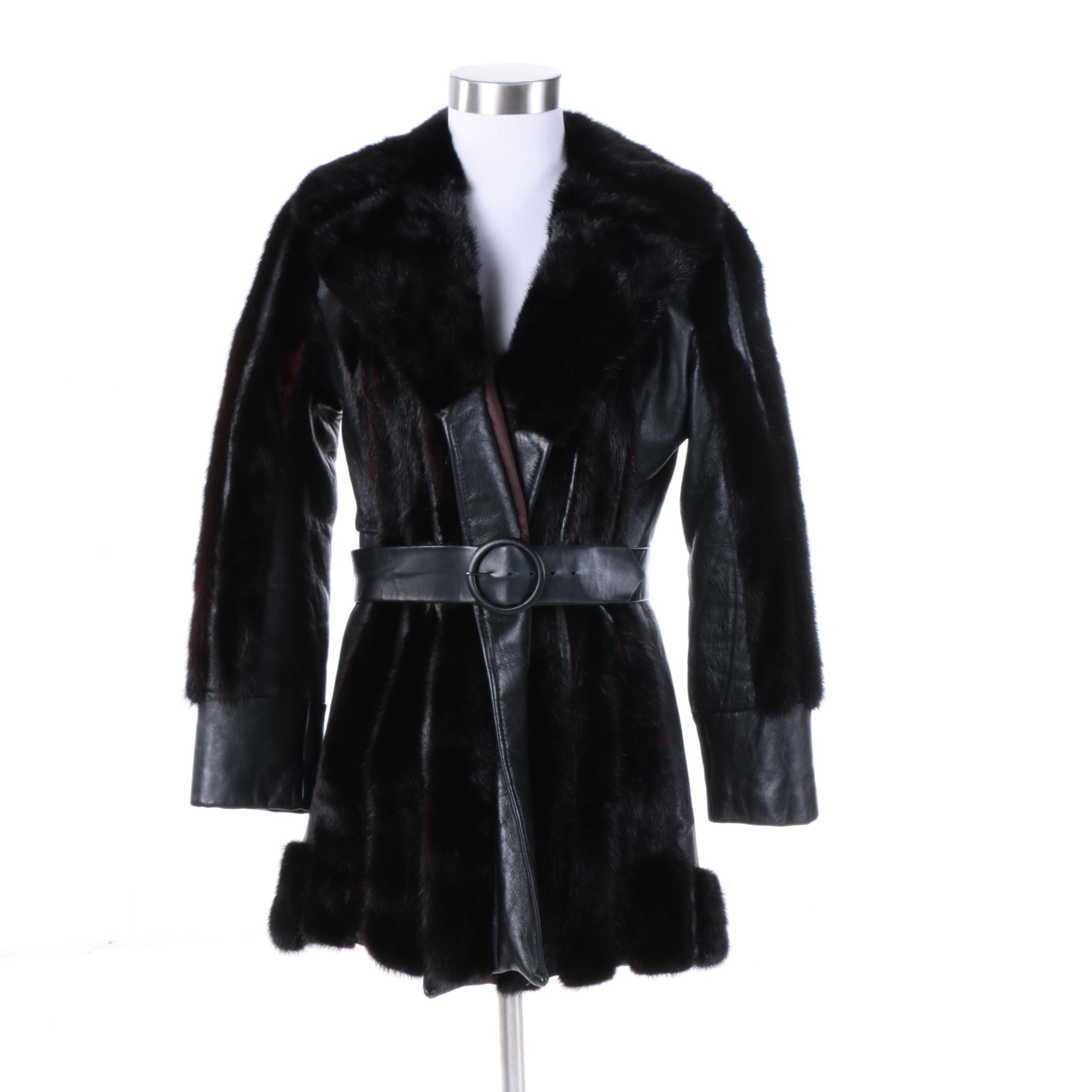 1970s Black Mink Fur and Leather Coat