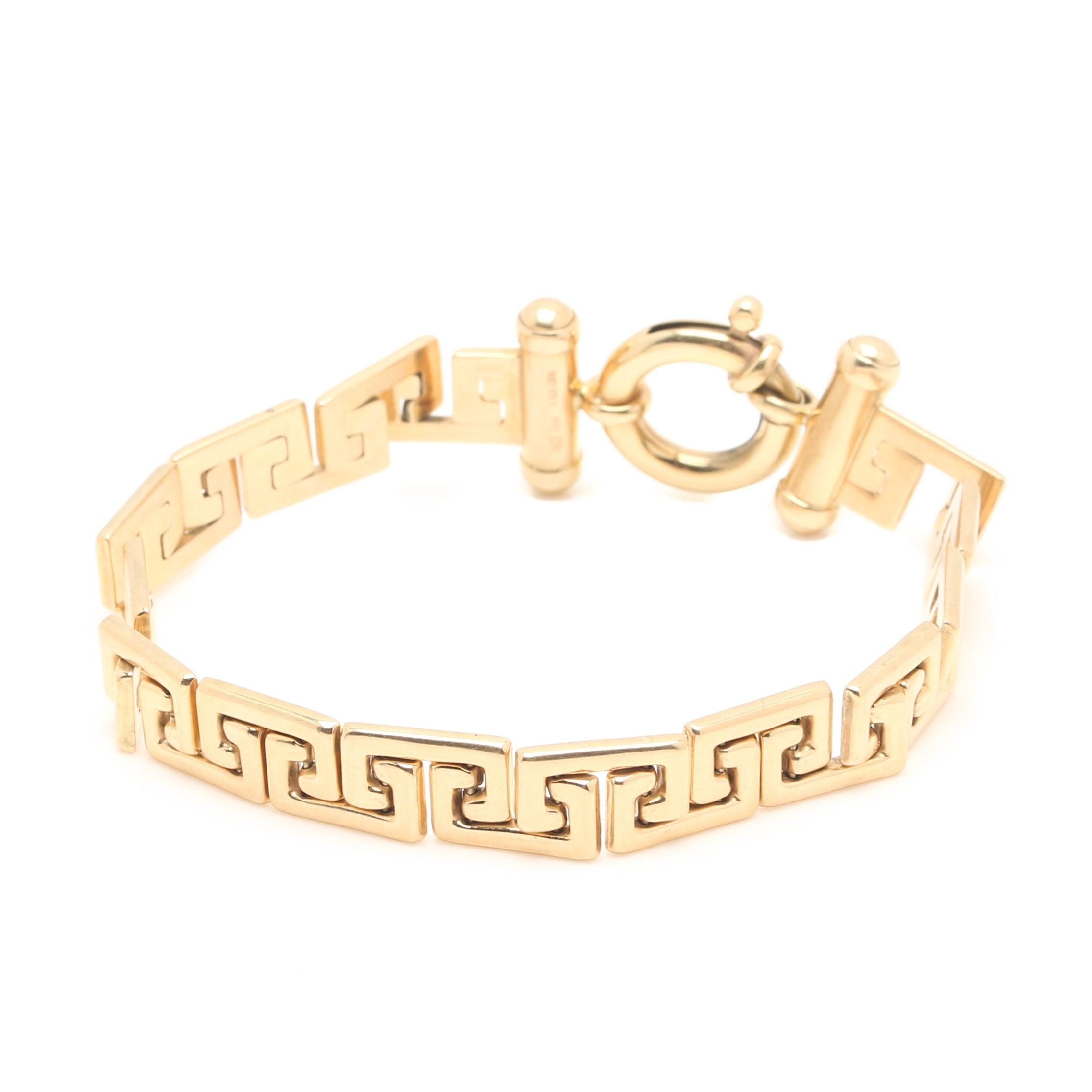 Milor 14K Yellow Gold Greek Key Bracelet