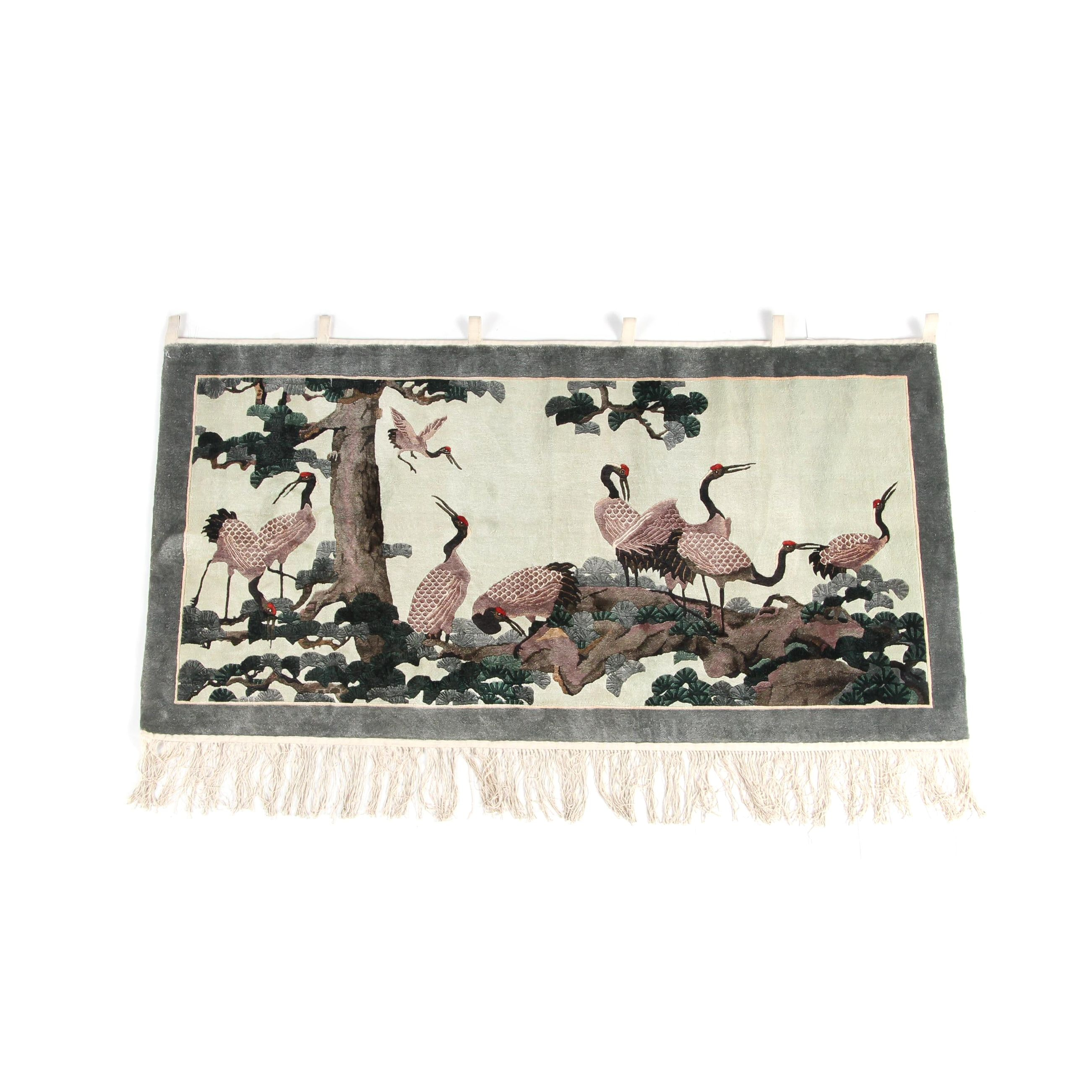 Hand-Knotted Chinese Carved Silk Wall Hanging