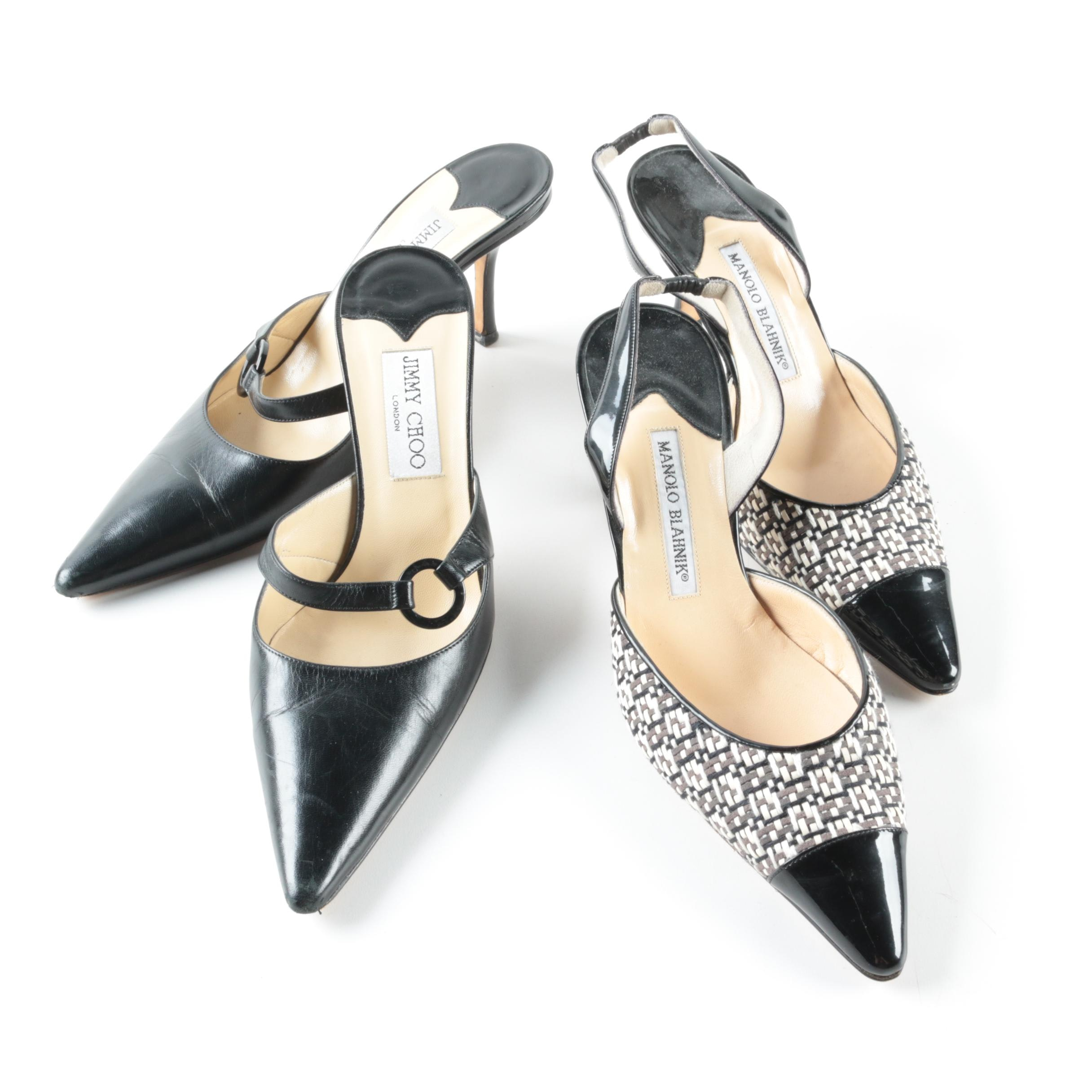 Jimmy Choo Black Leather Kitten Heels and Manolo Blahnik Slingback Heels