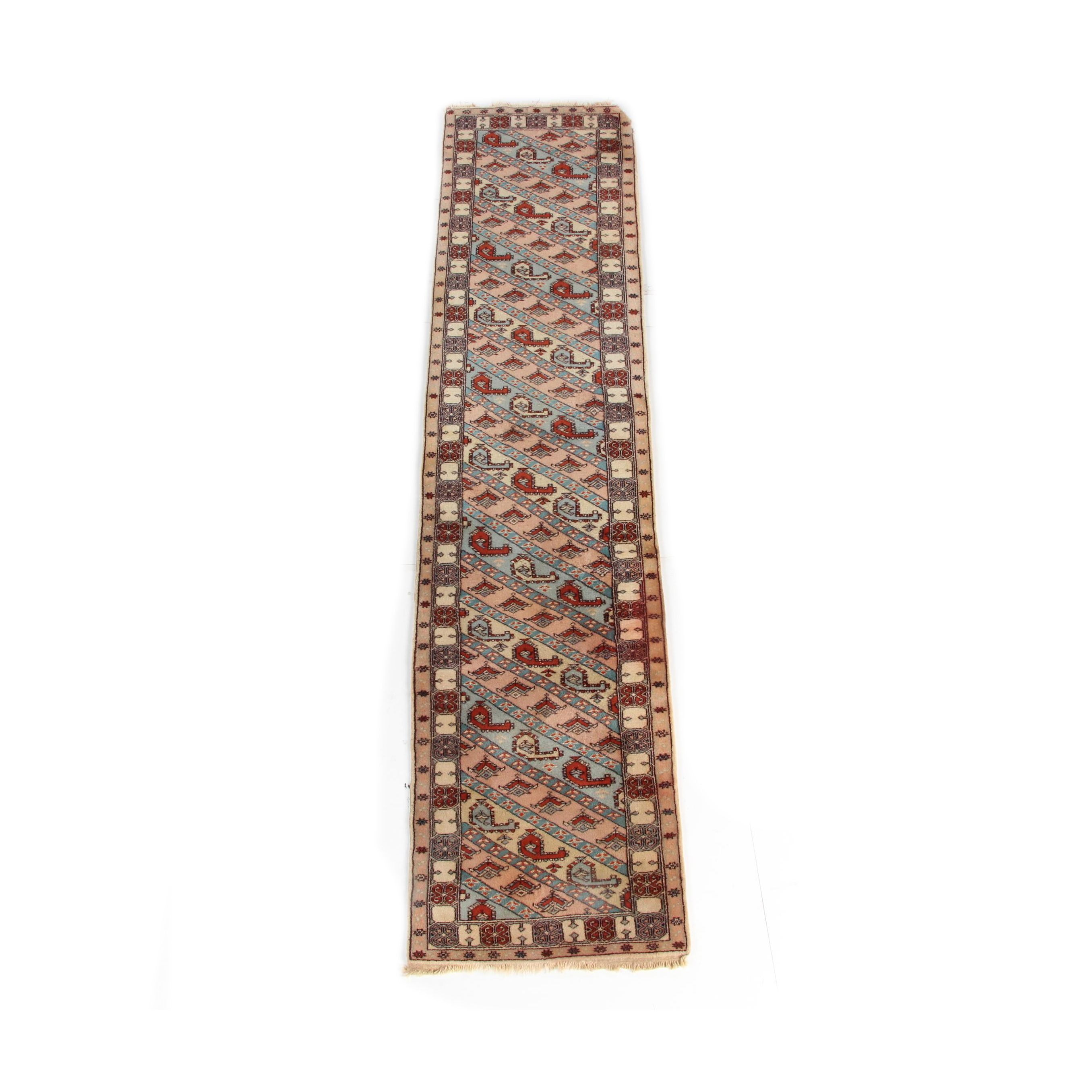 Vintage Hand-Knotted Caucasian Genje Wool Carpet Runner