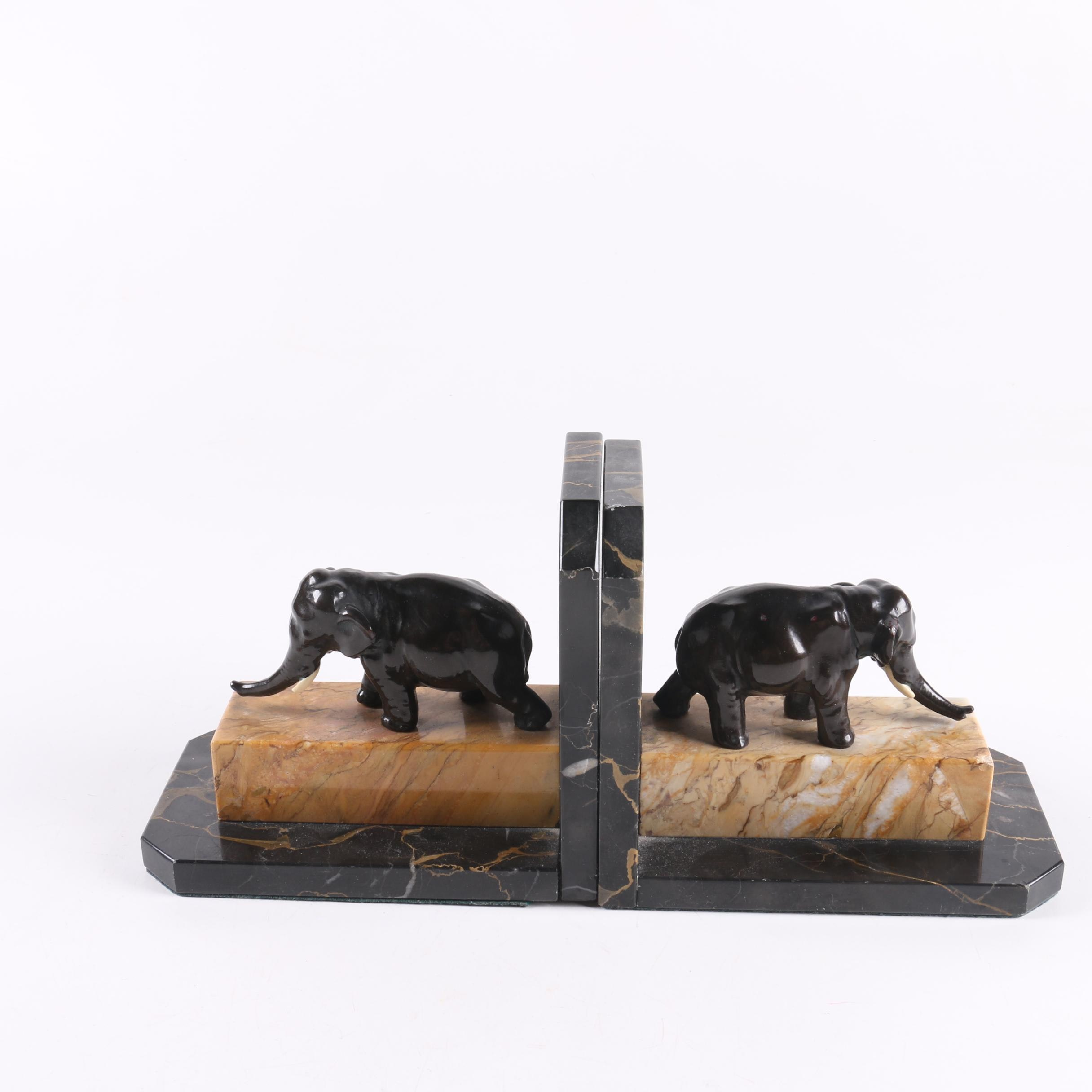 Marble Bookends with Elephants