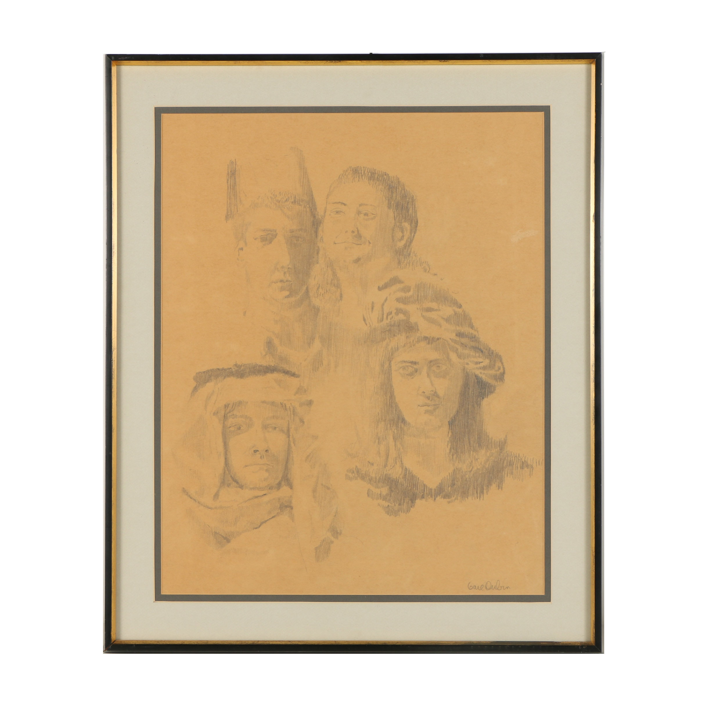 20th-Century Graphite Drawing of Four Men's Portraits