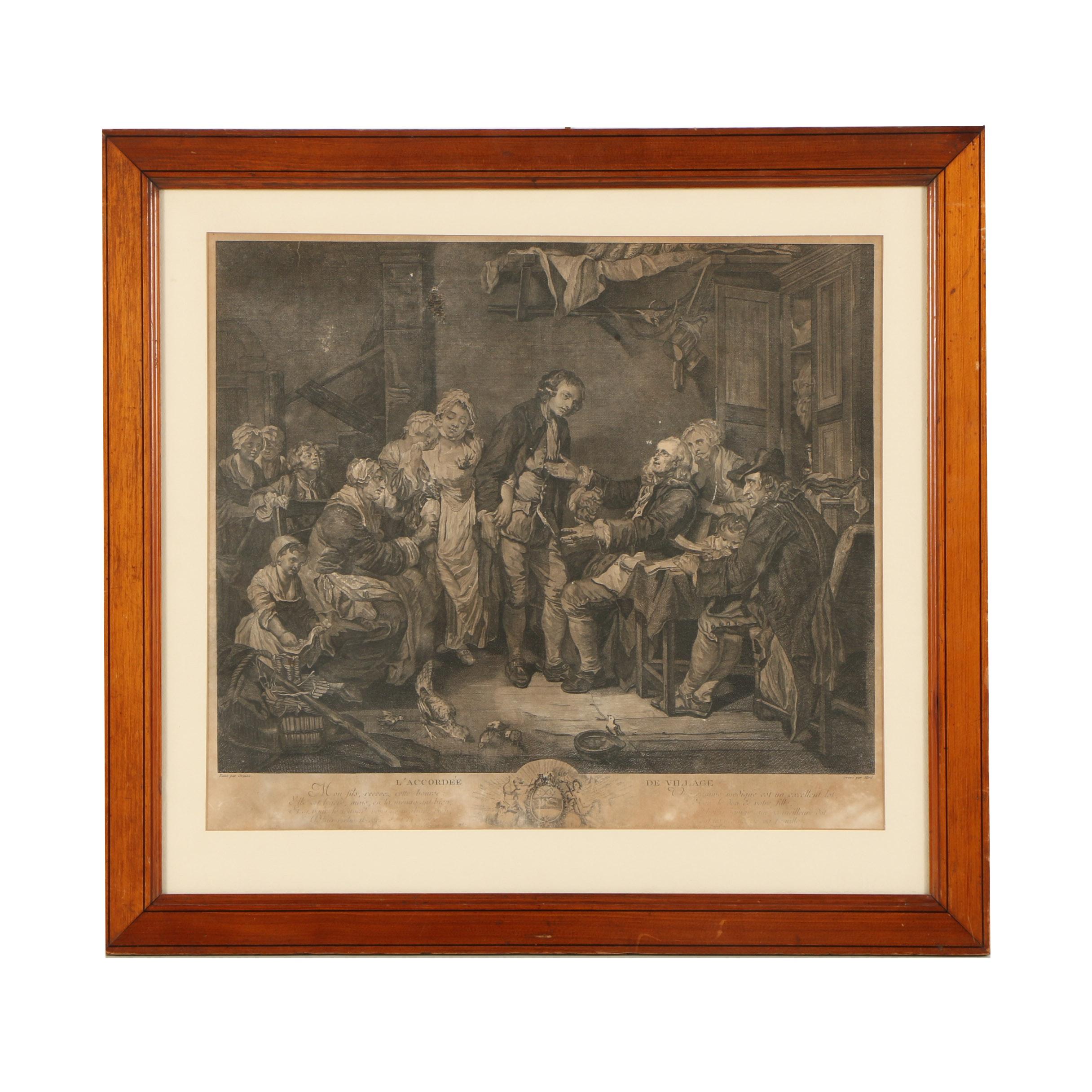 """Lithograph After Jean-Baptiste Greuze """"L'Accordee de Village"""""""