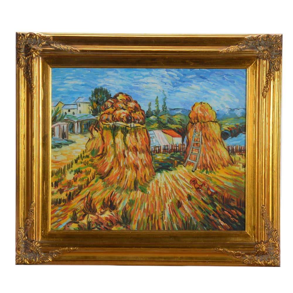 "Oil on Canvas Copy Painting after Vincent Van Gogh ""Haystacks in Provence"""