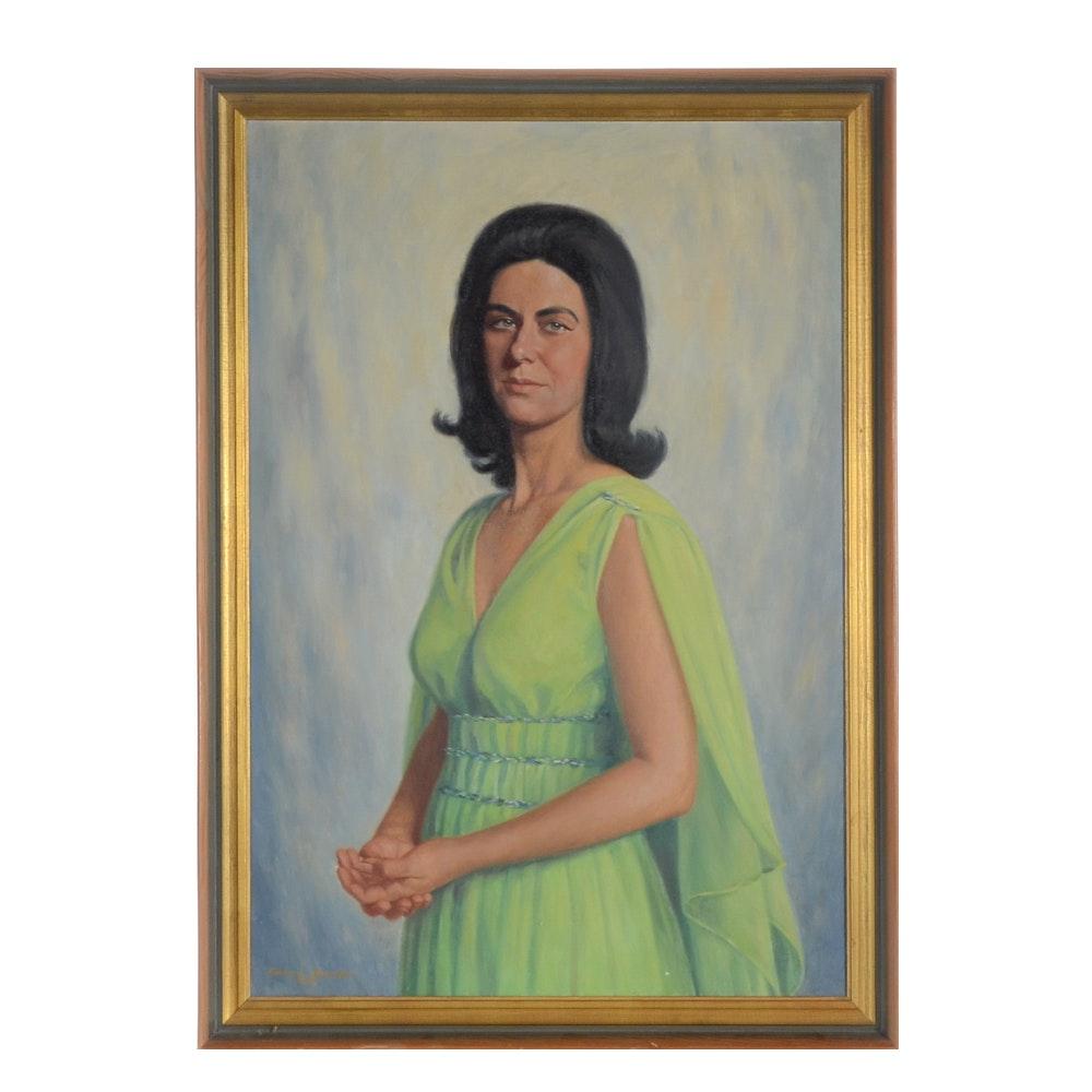 Edmund Brucker Original Oil Portrait Painting on Canvas