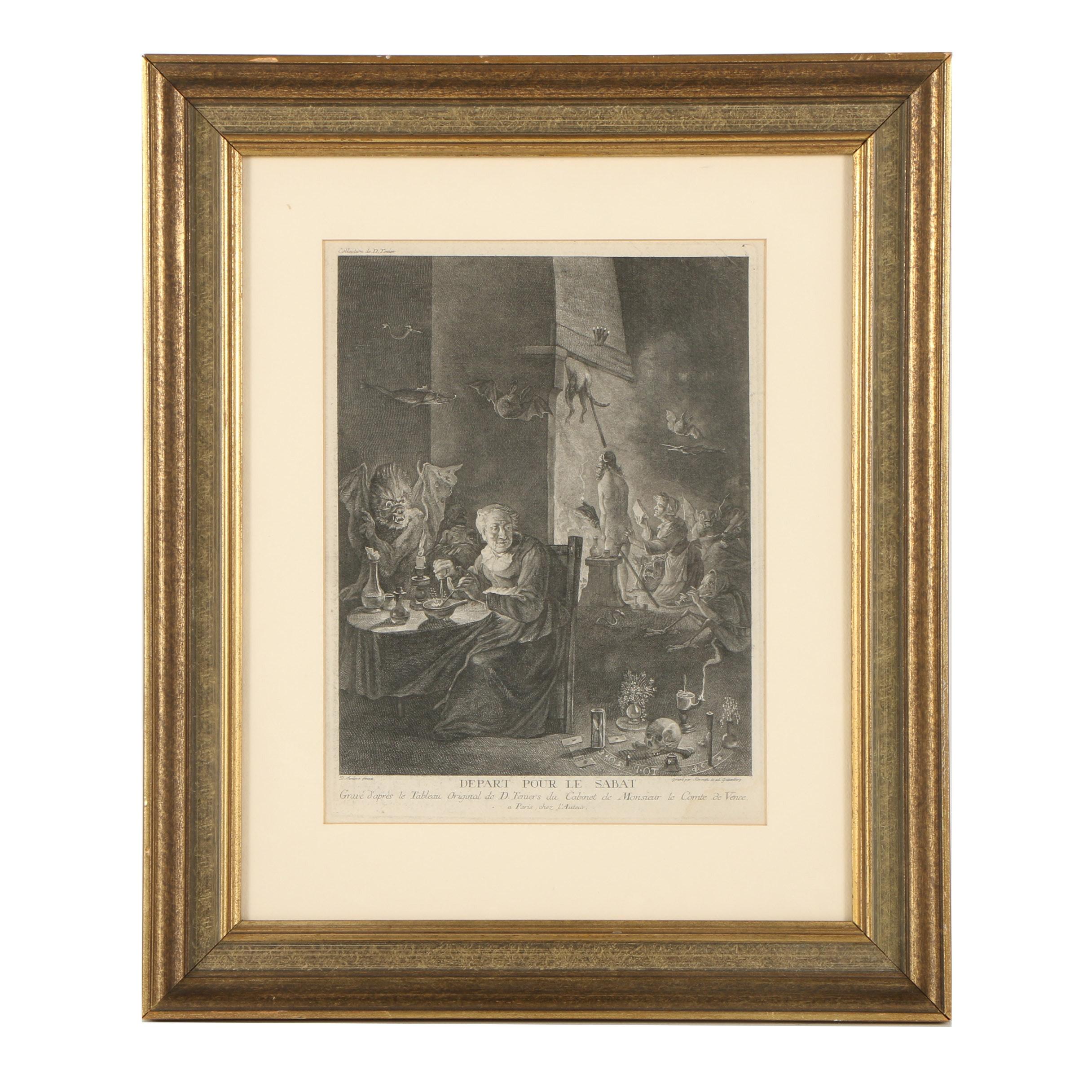 """Lithograph After David Teniers the Younger """"Depart Pour Le Sabat"""""""
