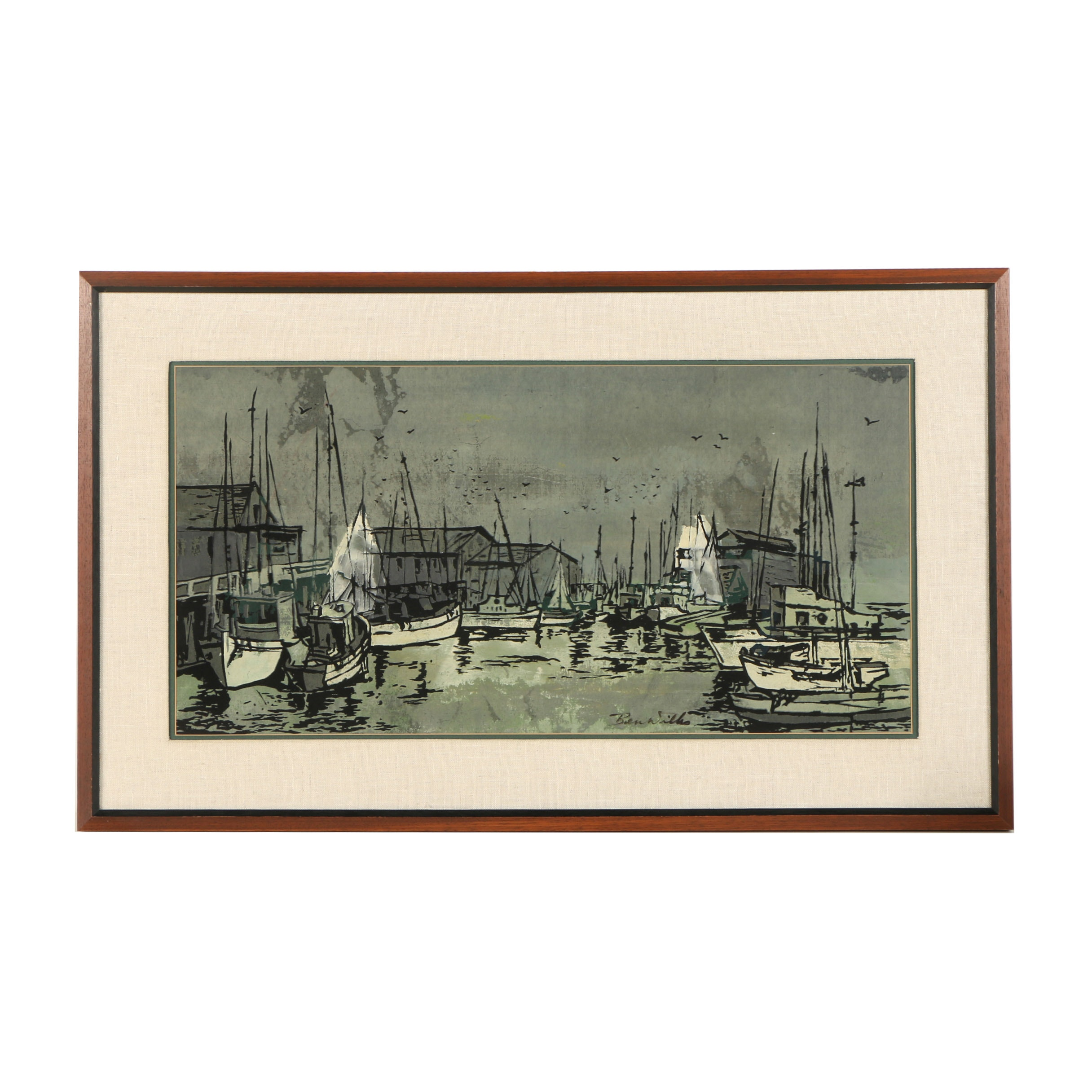 Ben Wilks Harbor Scene Serigraph on Fabric