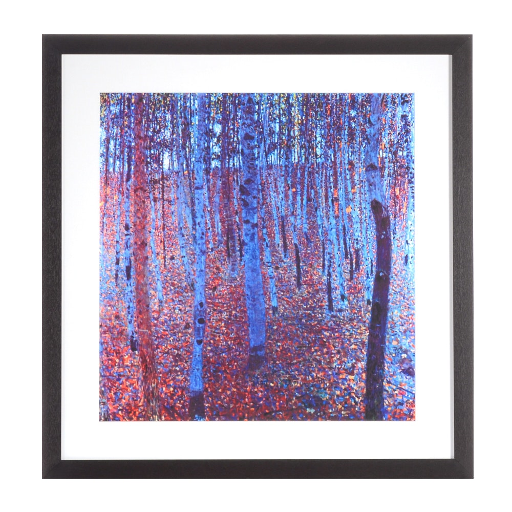 "Giclee Print on Paper after Gustav Klimt ""Forest of Beech Trees"""