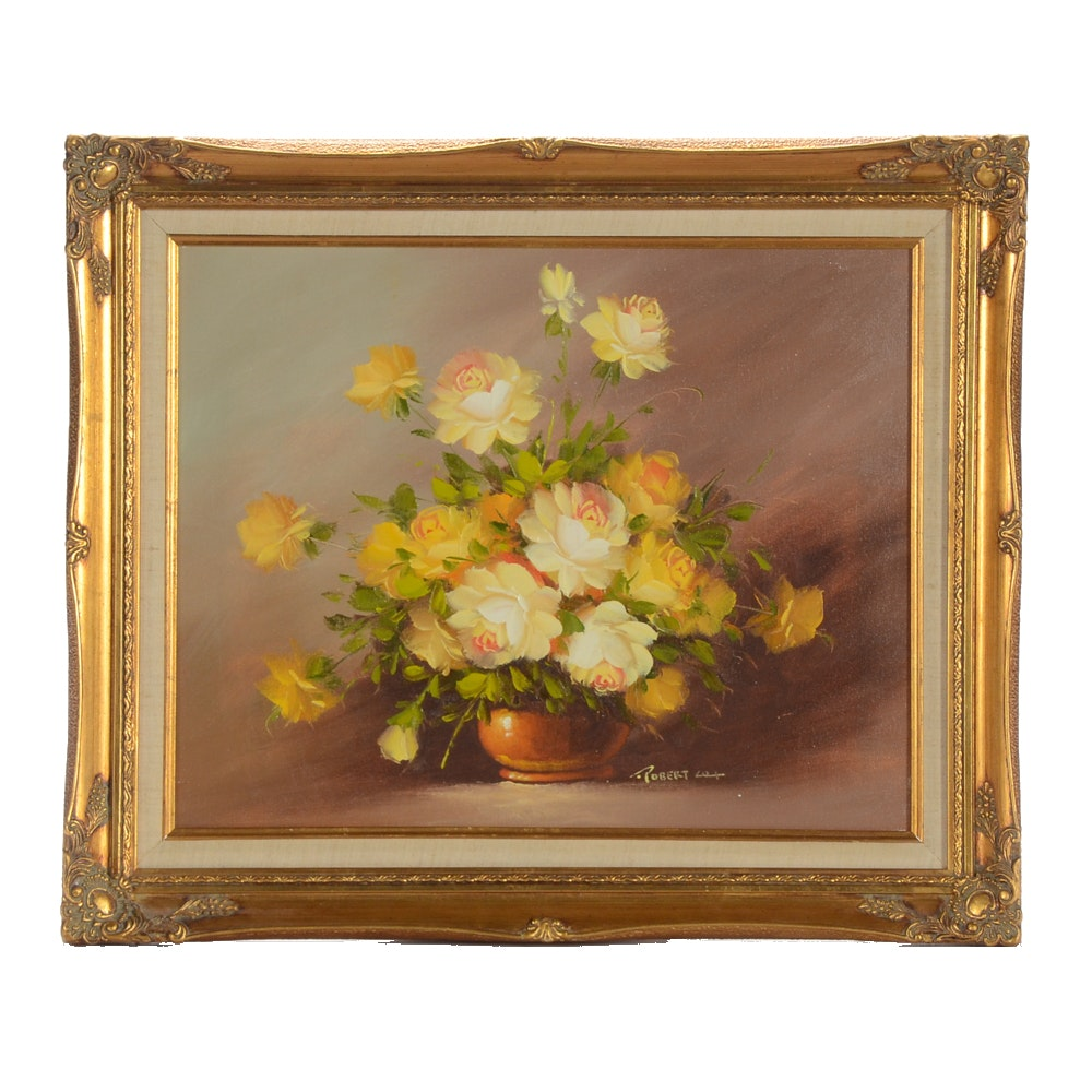 Robert Cox Original Oil on Canvas Floral Still Life Painting