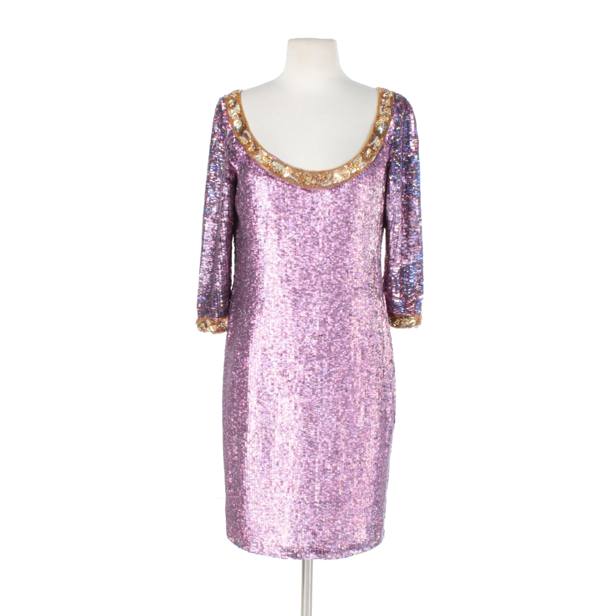 Naeem Khan Riazee Pink and Gold Fully Sequin Cocktail Dress