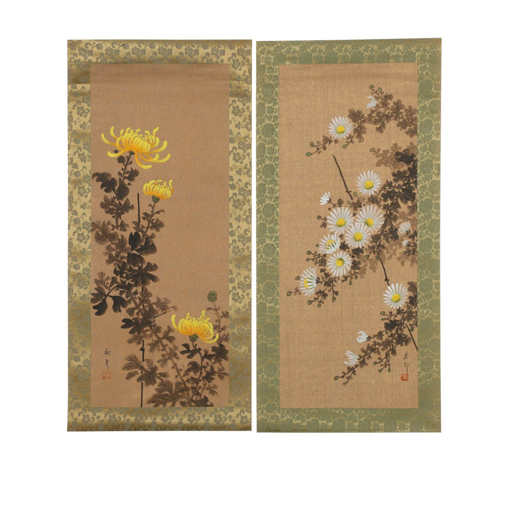 Two Japanese Gouache on Paper Scroll Paintings of Flowers