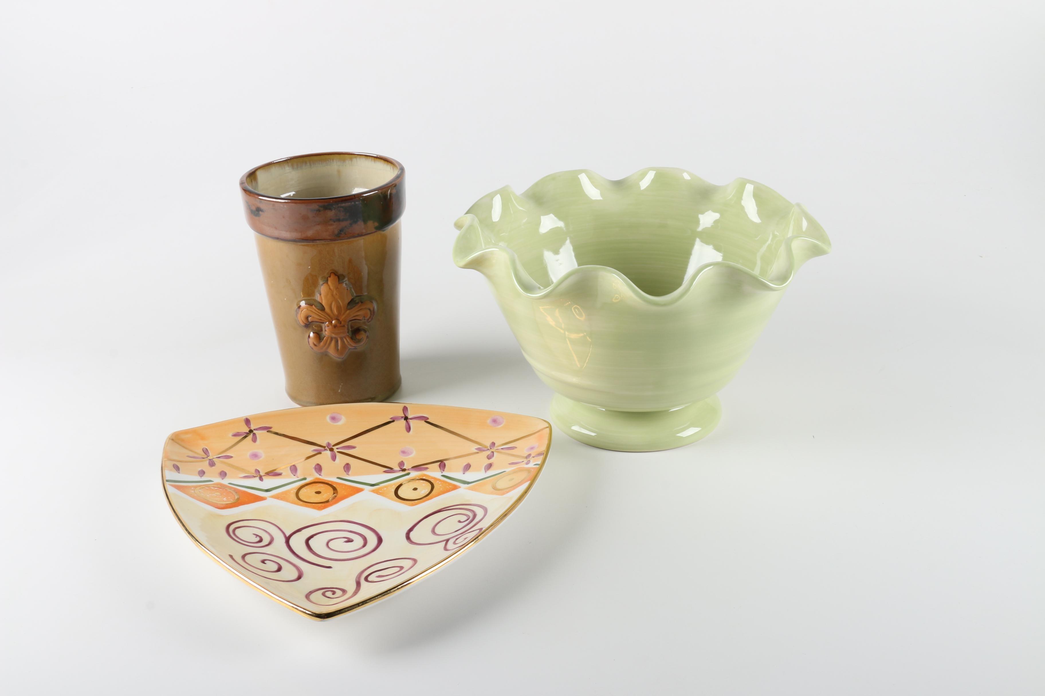 Crate&Barrel Ceramic Bowl with Decor