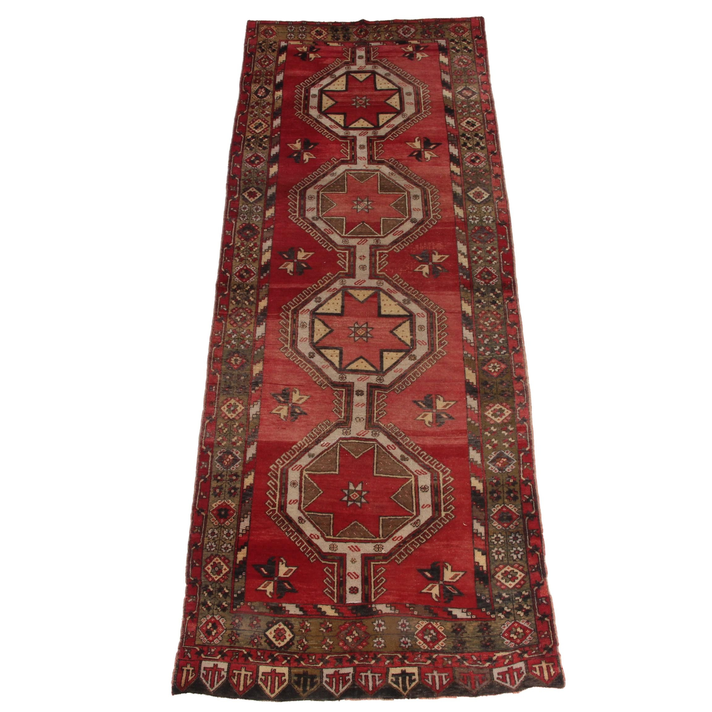 Hand-Knotted Turkish Konya Wool Carpet Runner
