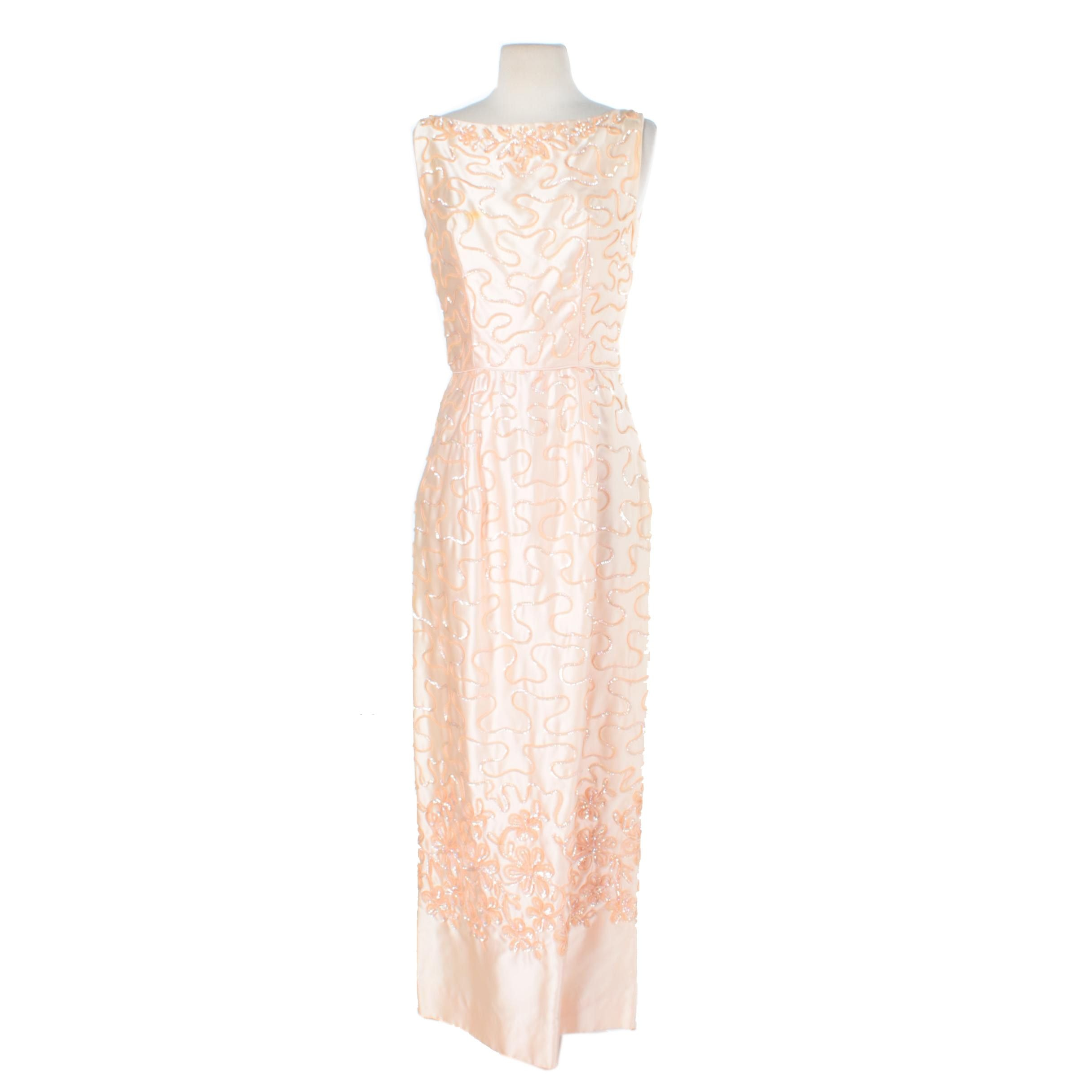 1960s Emma Domb Peach Silk Sequin Evening Gown