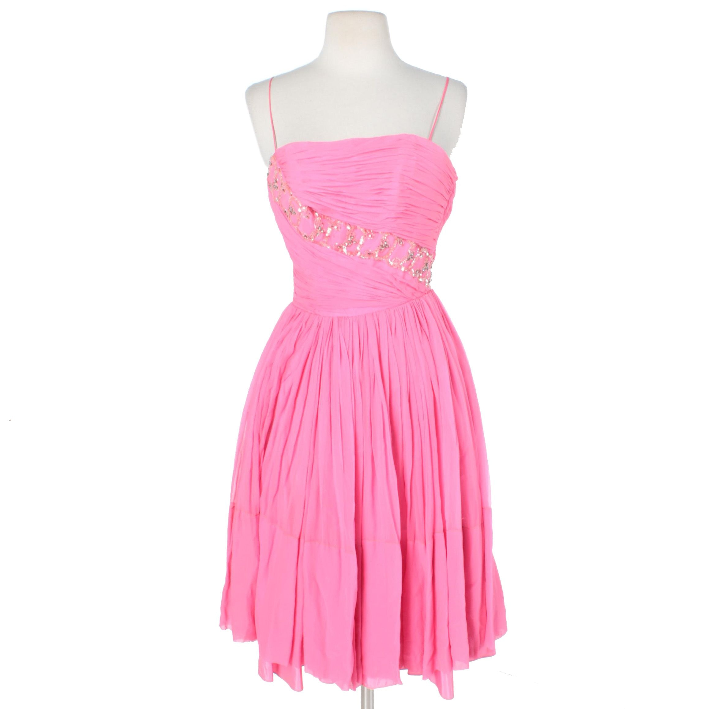1950s Pink Silk Pleated Beaded Evening Dress