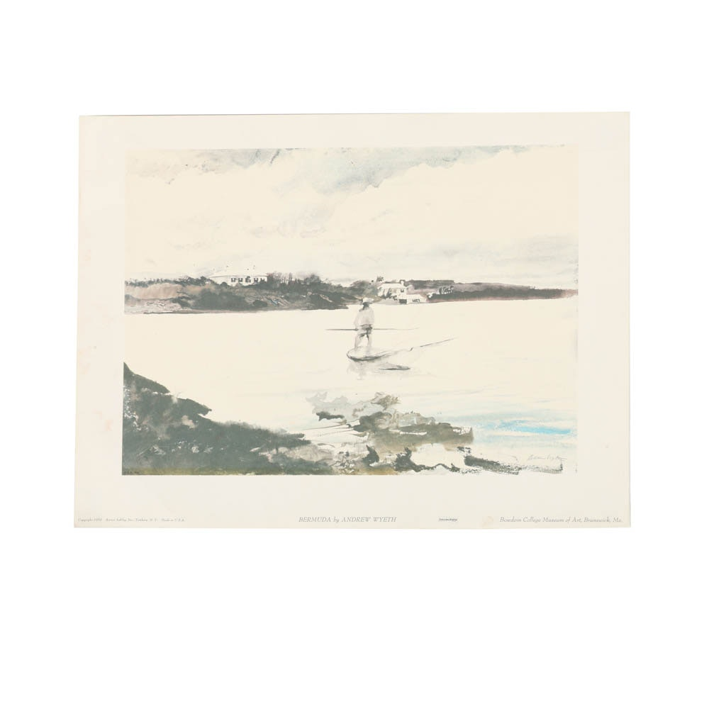"Offset Lithograph on Paper ""Bermuda"" After Andrew Wyeth"
