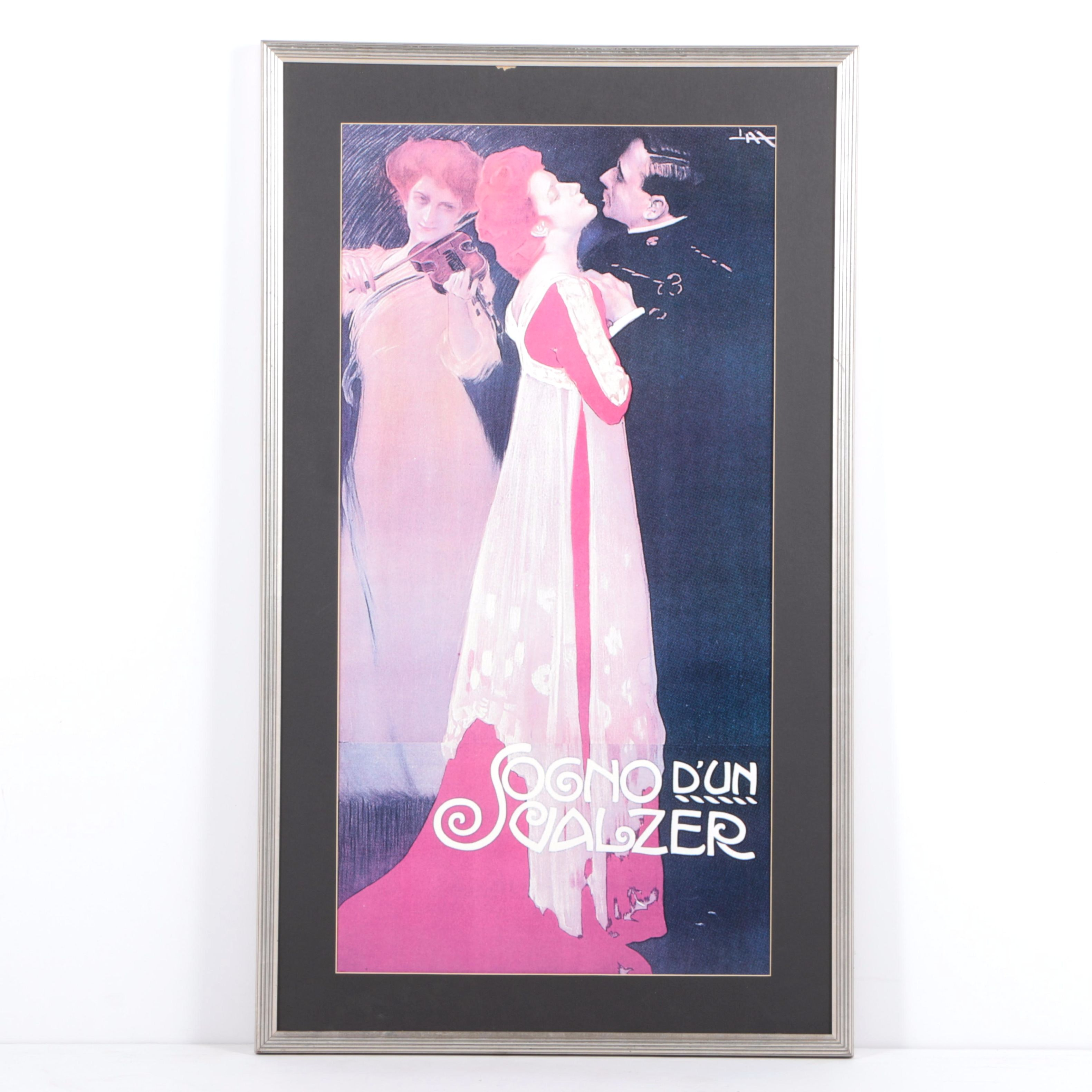 "Offset Lithograph Poster After Leopoldo Metlicovitz's ""Sogno d'un Valzer"""
