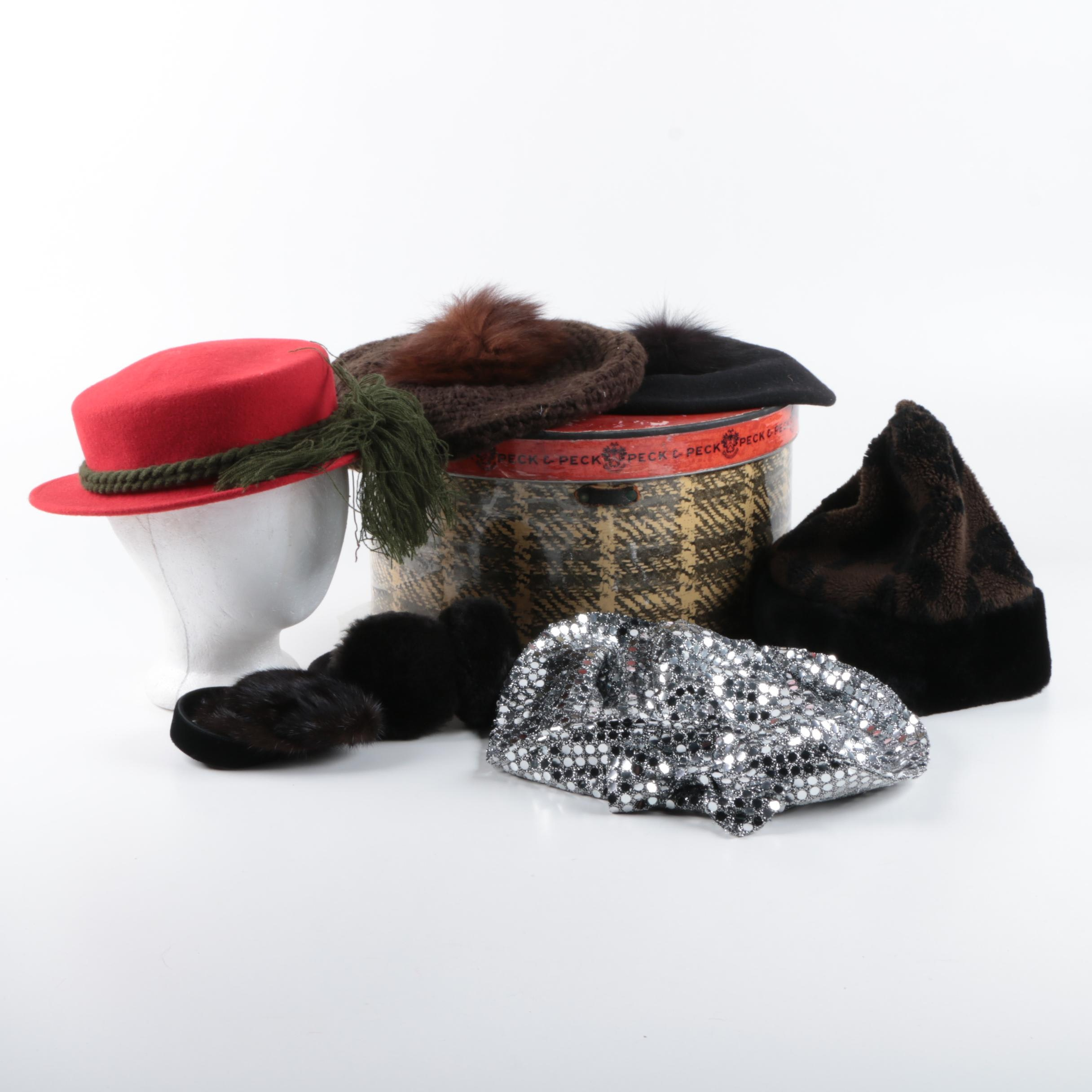 Modern and Vintage Headwear Including Mink and Fox Fur and Peck & Peck Hat Box