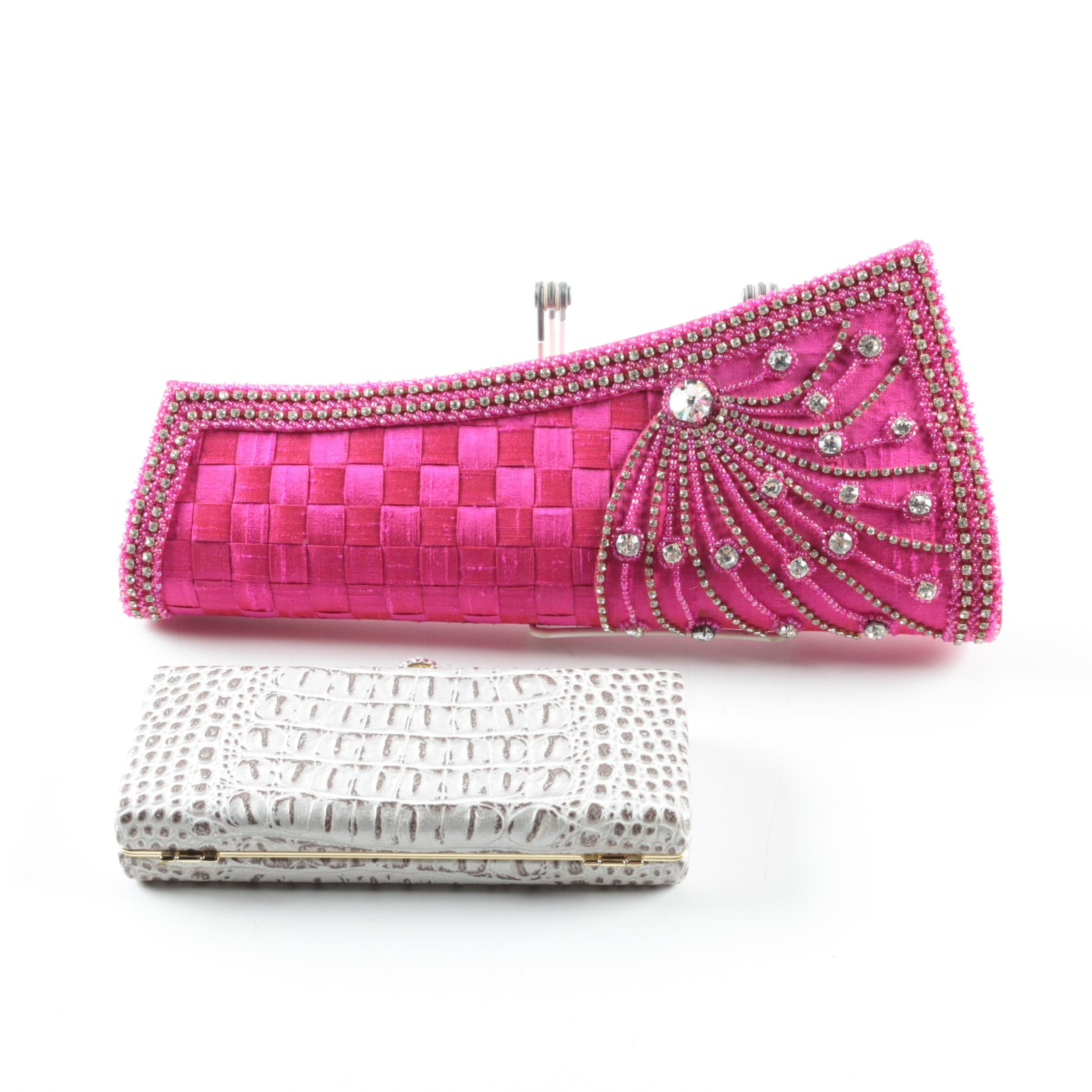 Evening Clutches Including a Hot Pink Raw Silk Embellished Clutch