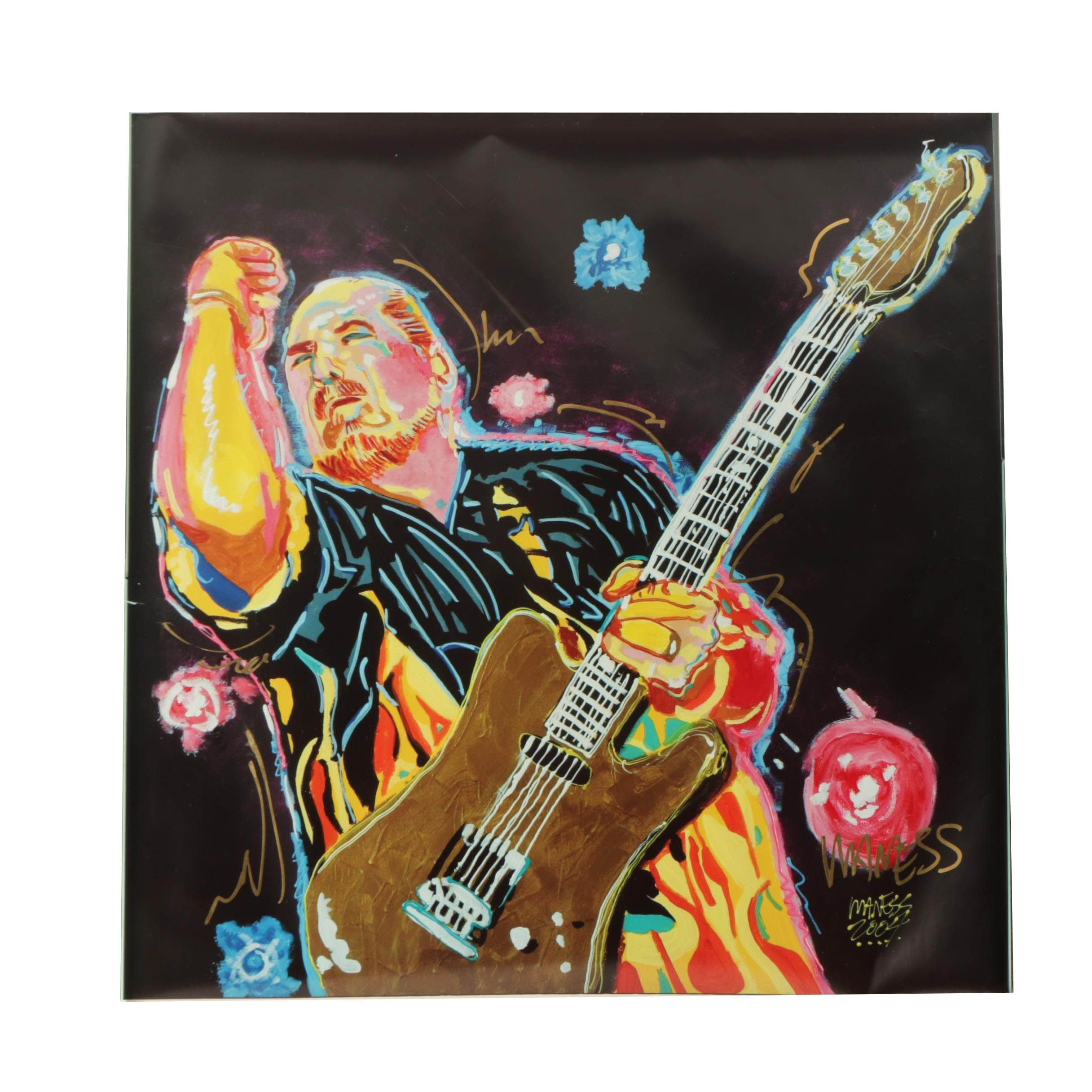 Maness 2004 Hand-Embellished Giclée Print on Paper of Guitar Player