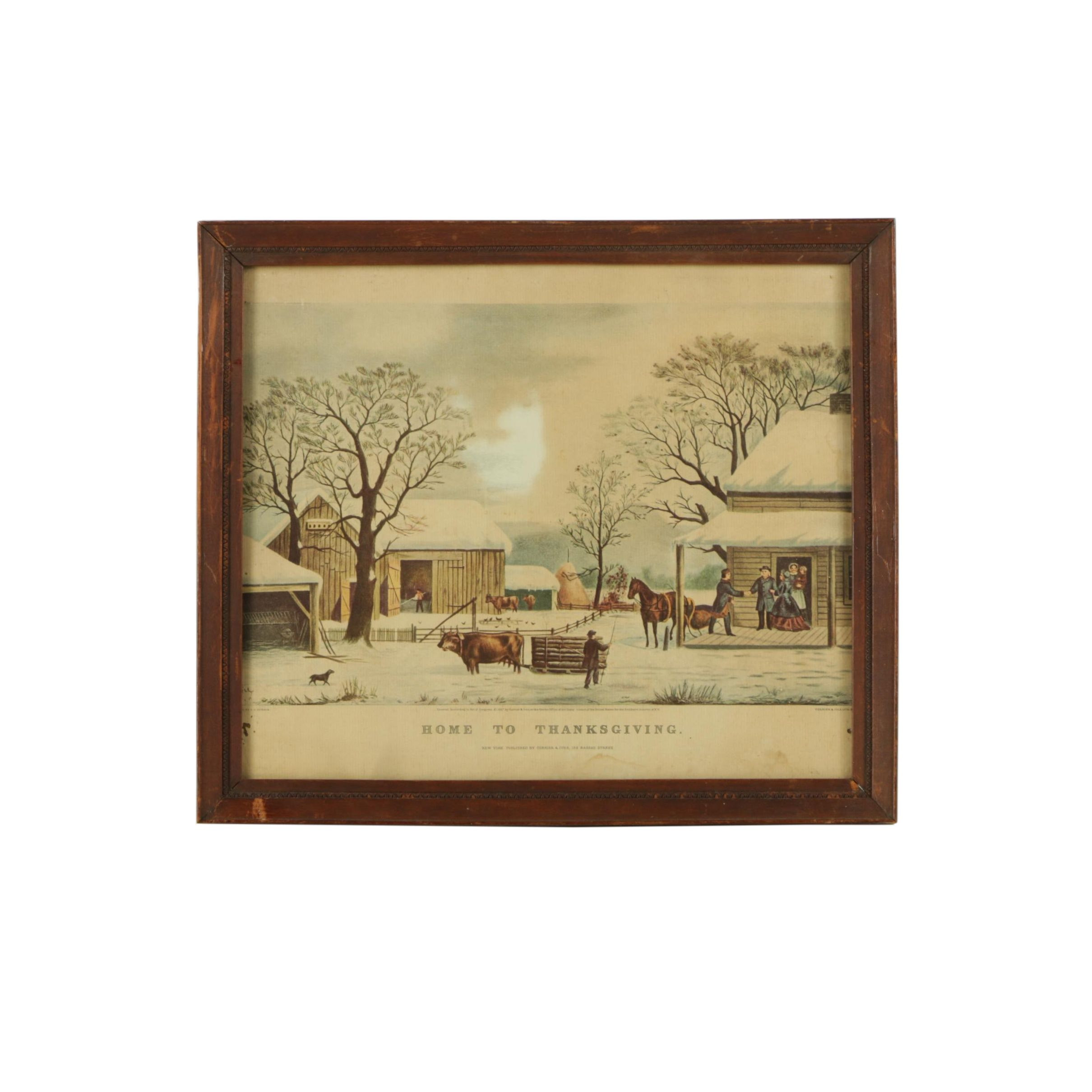 "Currier & Ives Reproduction Print on Paper ""Home to Thanksgiving"""
