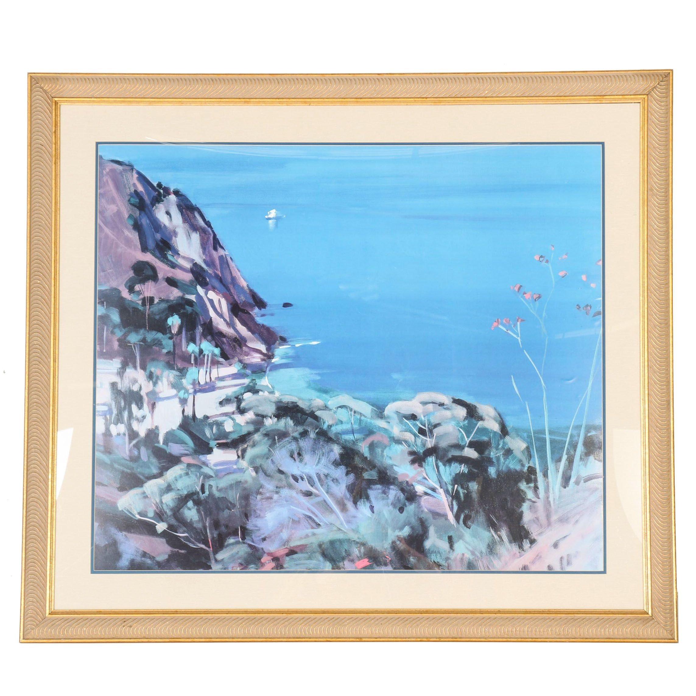 "Marcia Burtt Offset Lithograph ""Island Cove"""