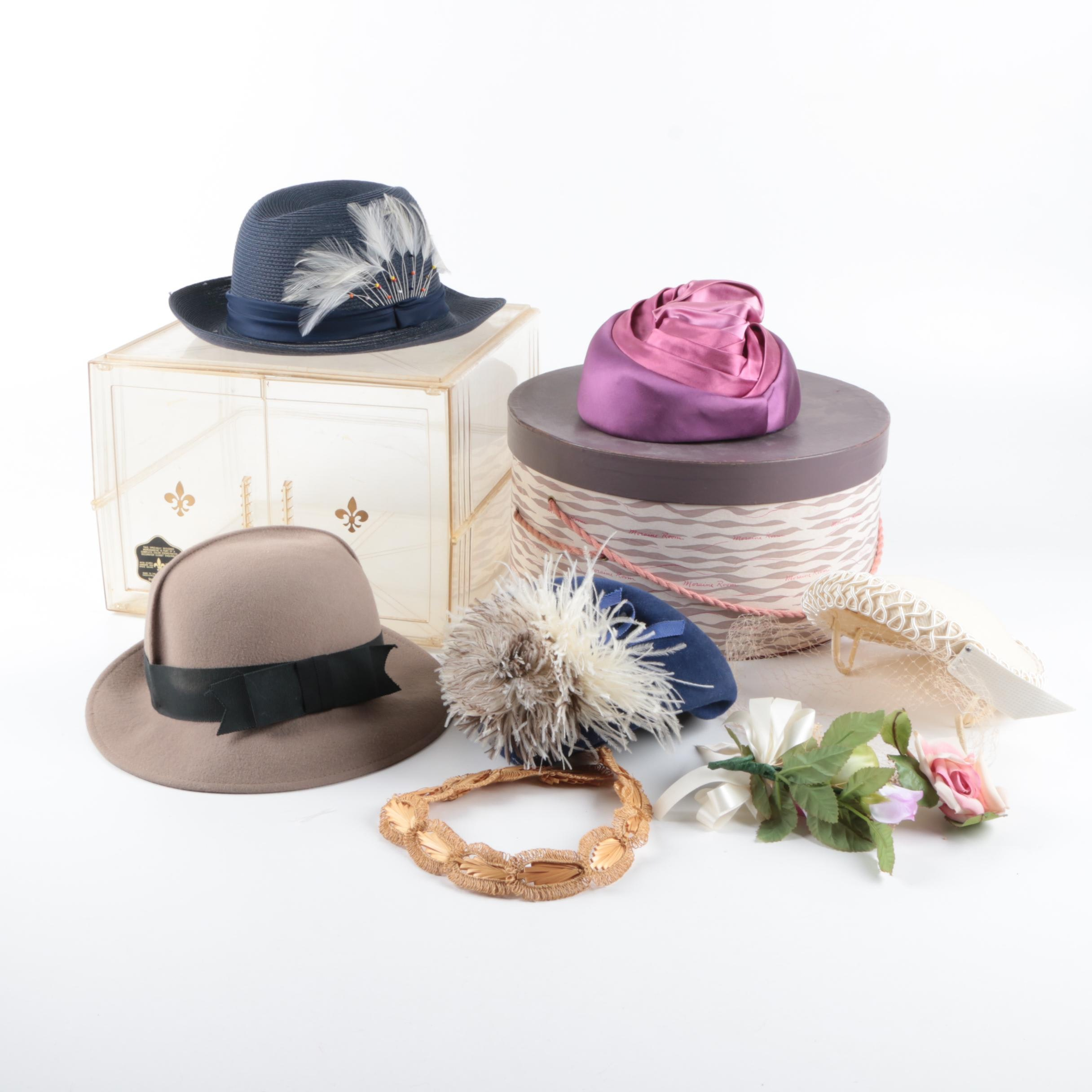 Women's Vintage Hats and Hairpieces Including Ruth Alan and Madcaps