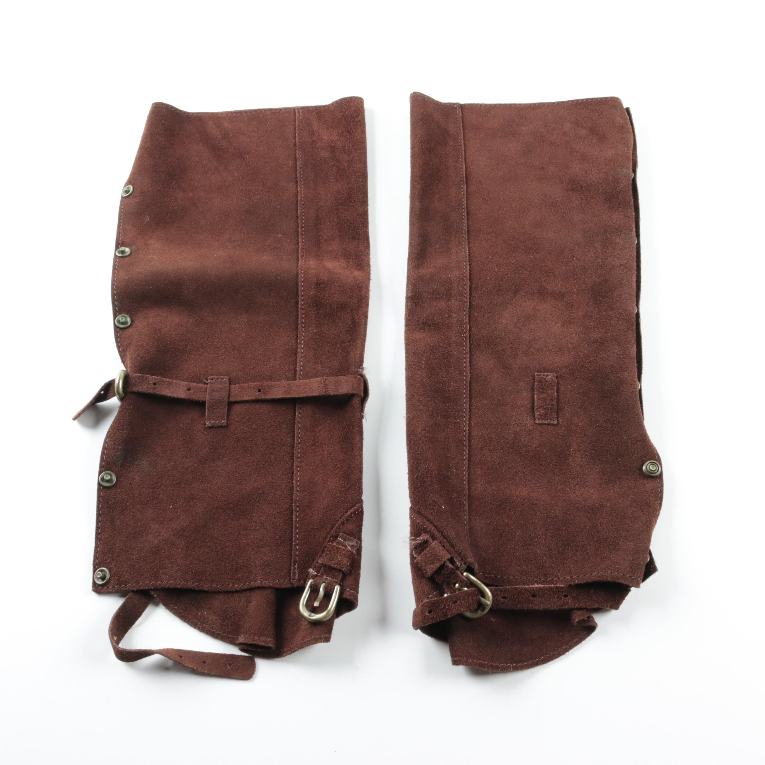 Brown Suede Snap Button Stir-Up Boot Covers