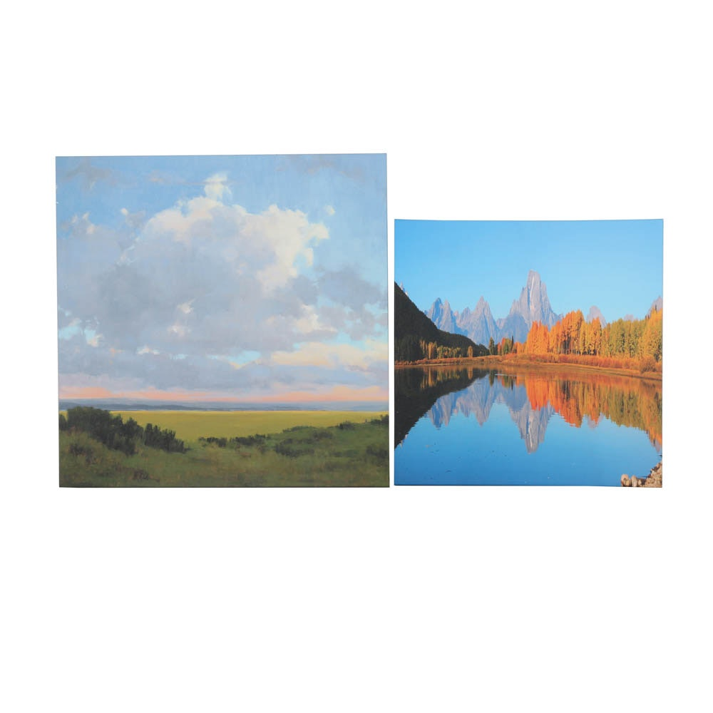 Pair of Offset Lithograph Stretched Canvases of Scenery