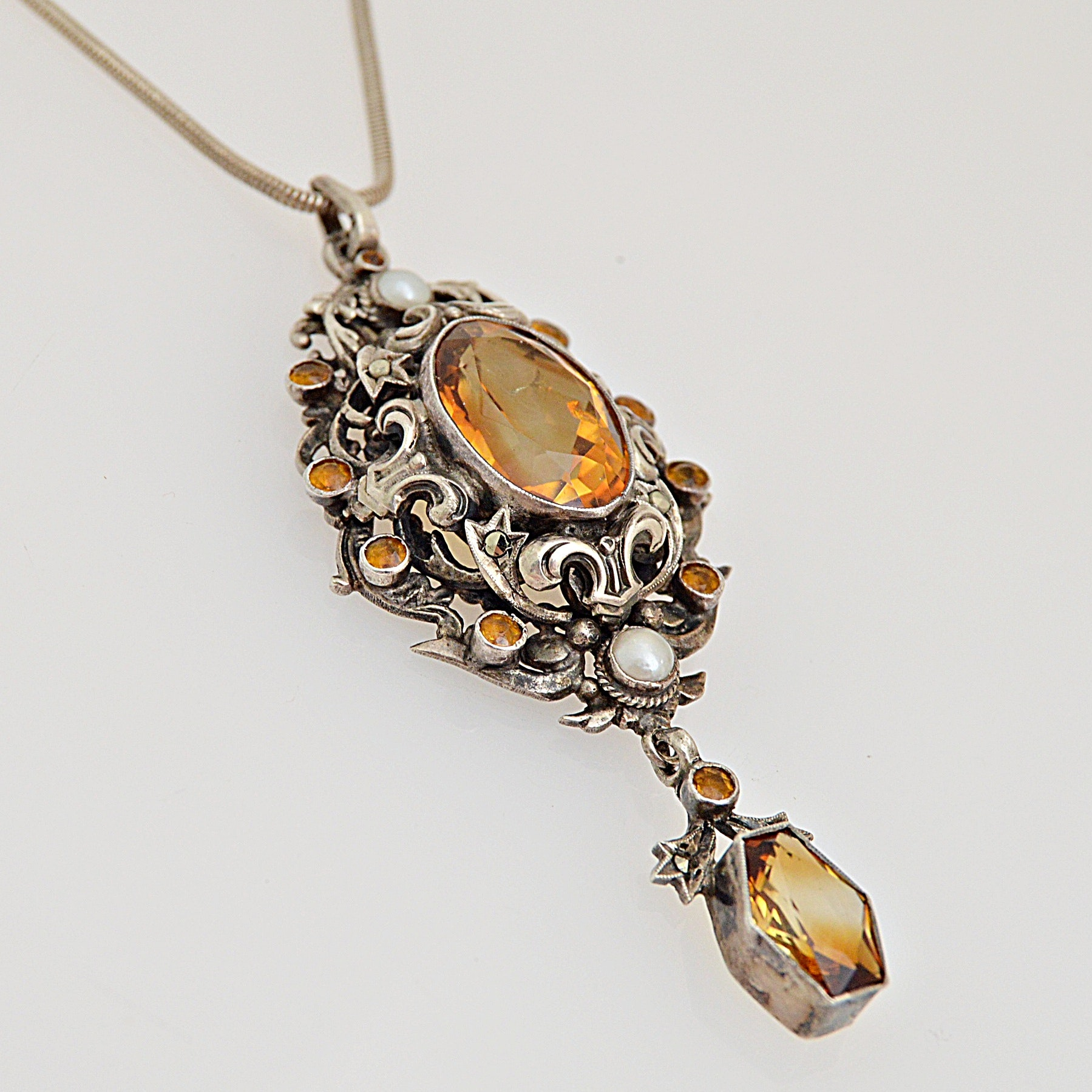 Vintage Sterling Silver, Citrine, Cultured Pearl and Glass Pendant Necklace